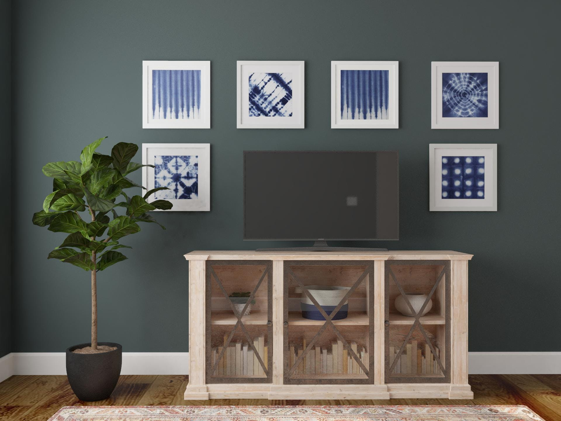 Traditional Space With Shibori Gallery Wall in Calming Blue