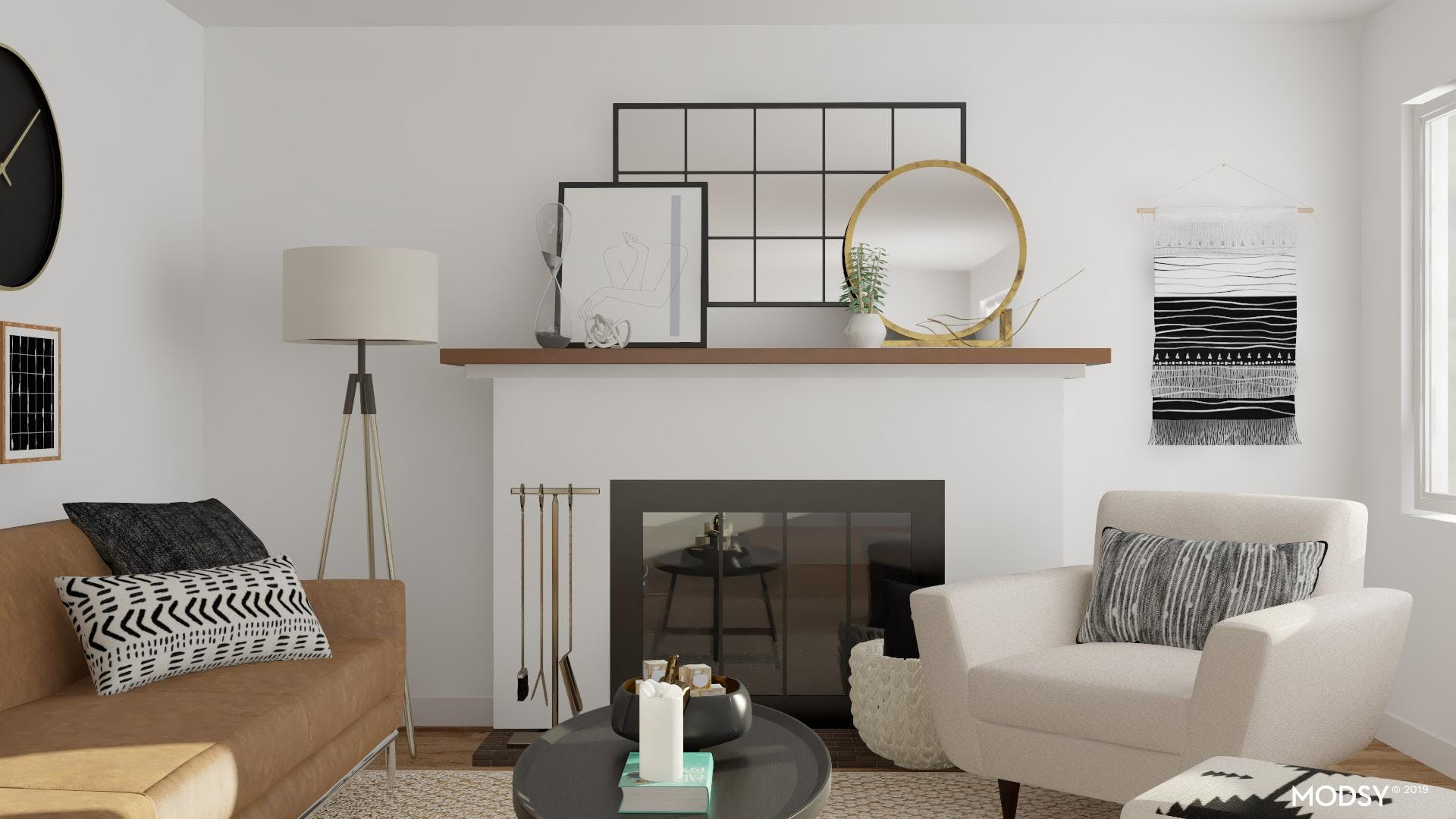 Layering Mirrors Over a Mod Fireplace