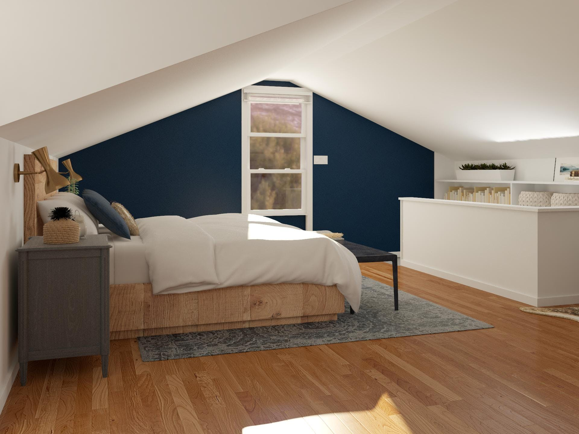 Attic Space Bedroom with Rustic Style
