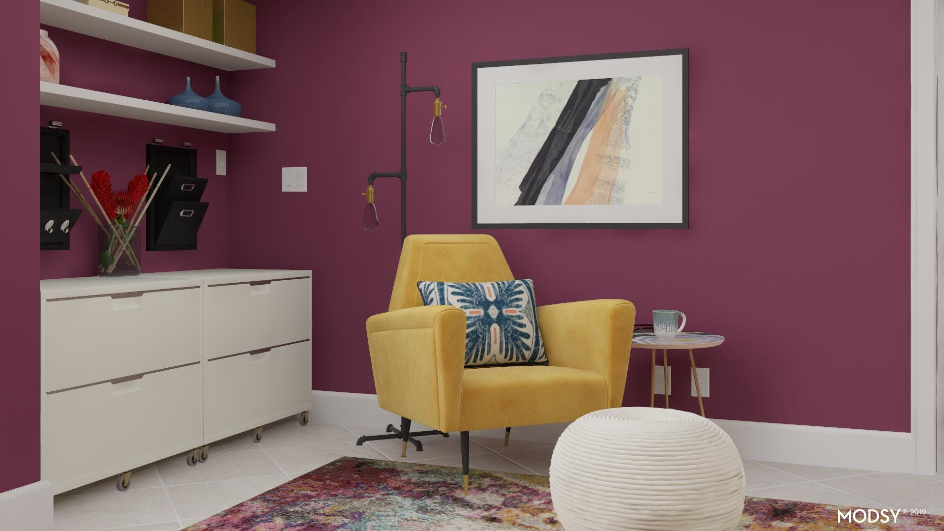 Colorful Home Office Seating Area