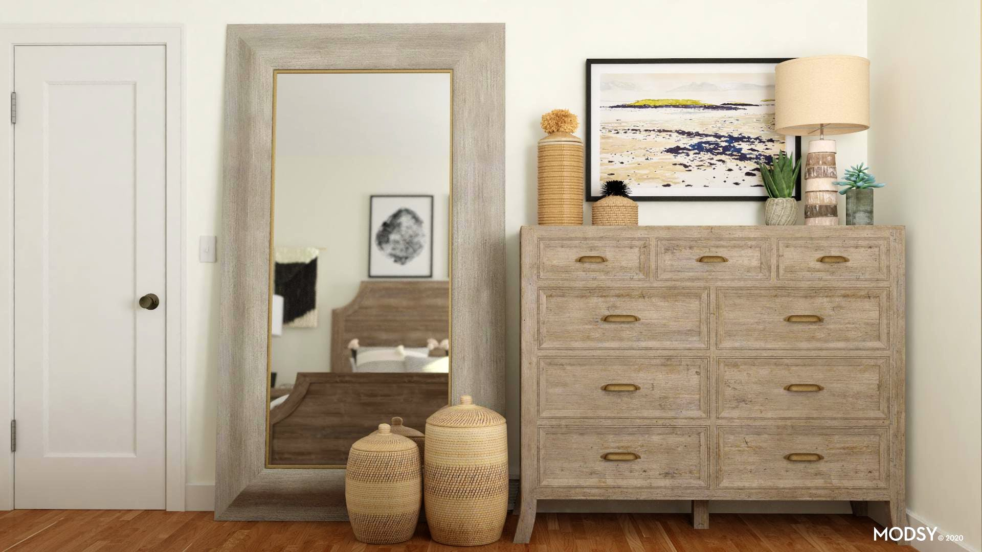 Baskets and Storage in Rustic Bedroom