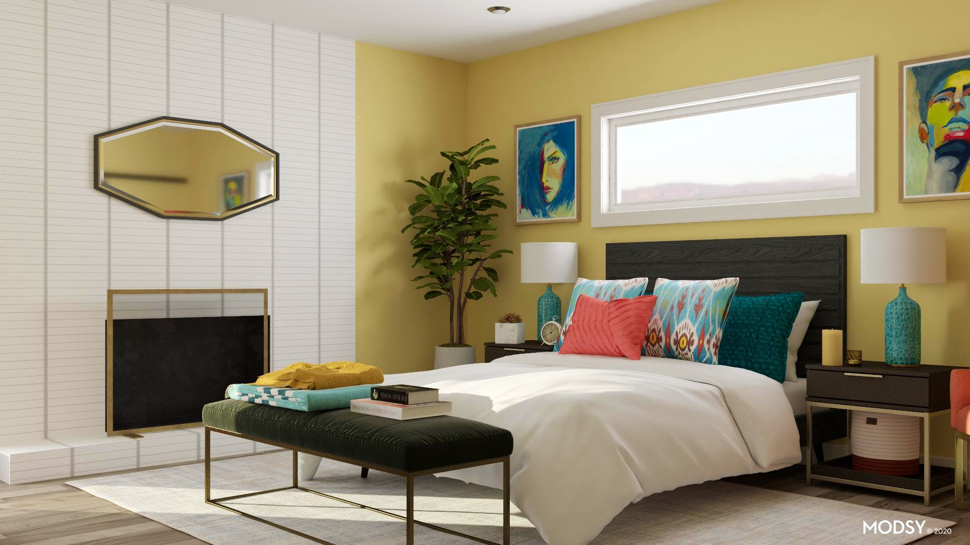 Bright Multicolor Contemporary Bedroom