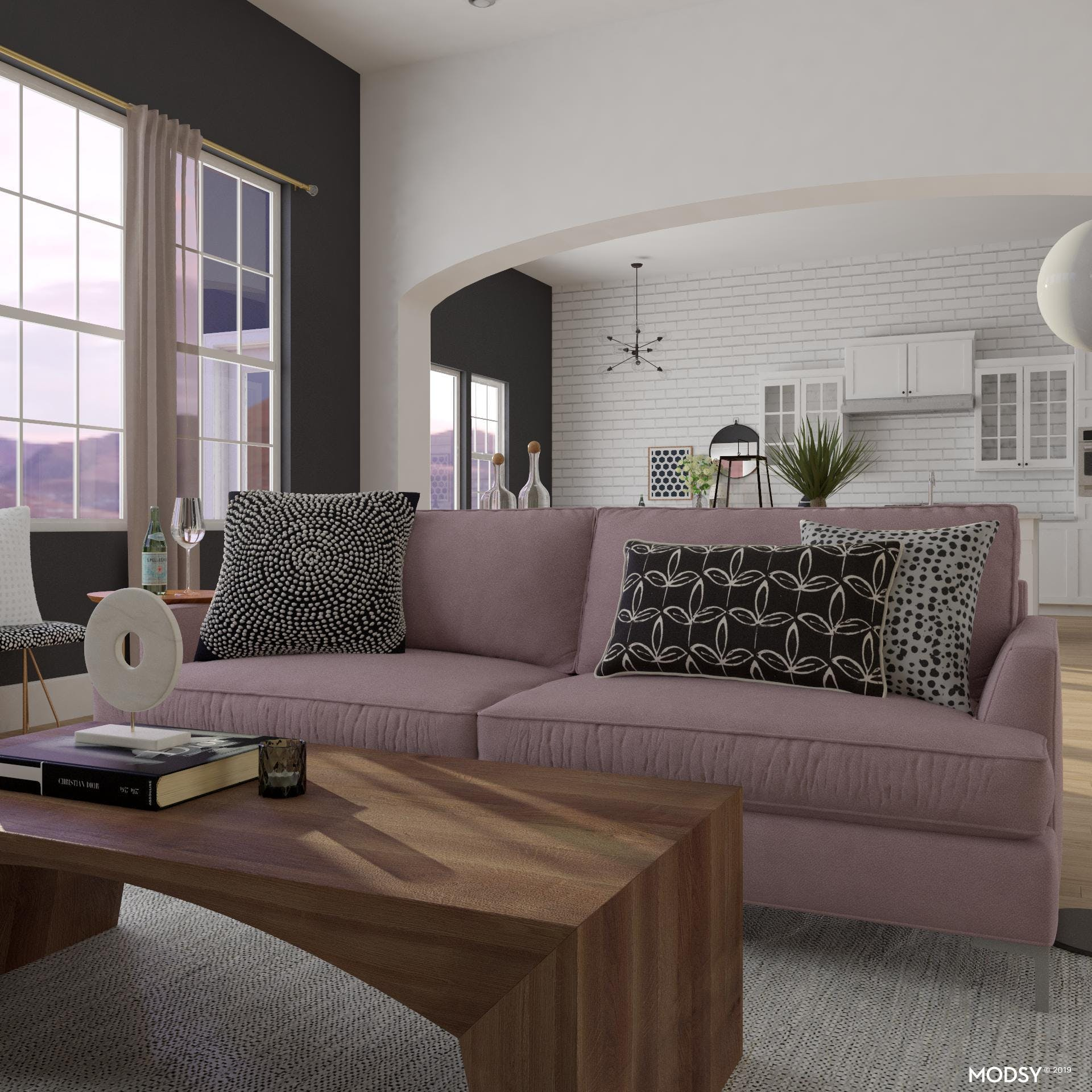 Mid-Century Living Room in Black, White and Blush