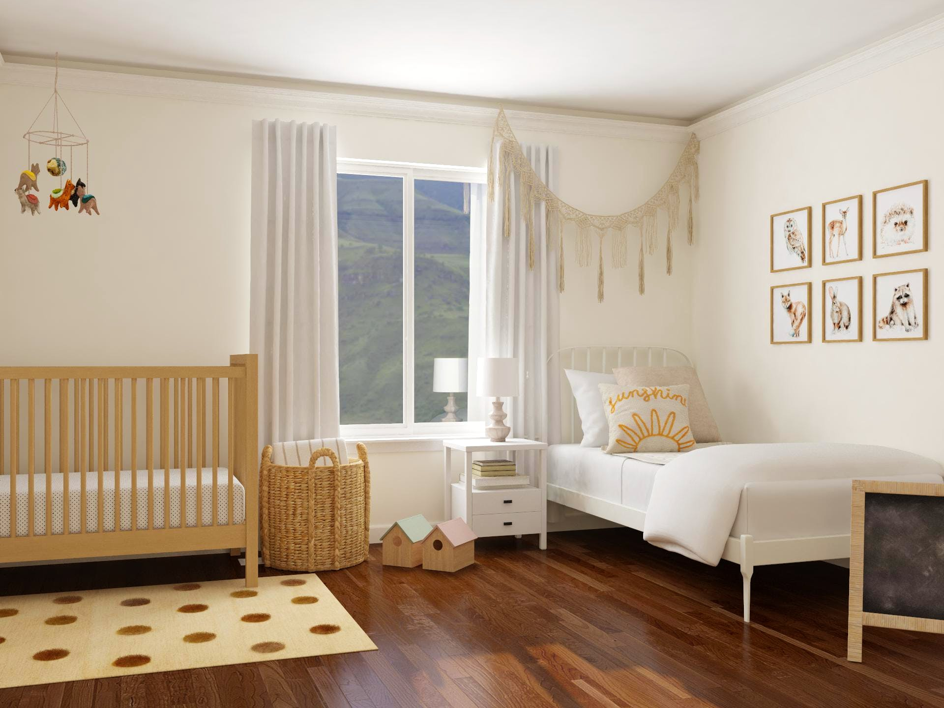 Sweet Boho-rustic Inspired Dual  Nursery and Kids Room