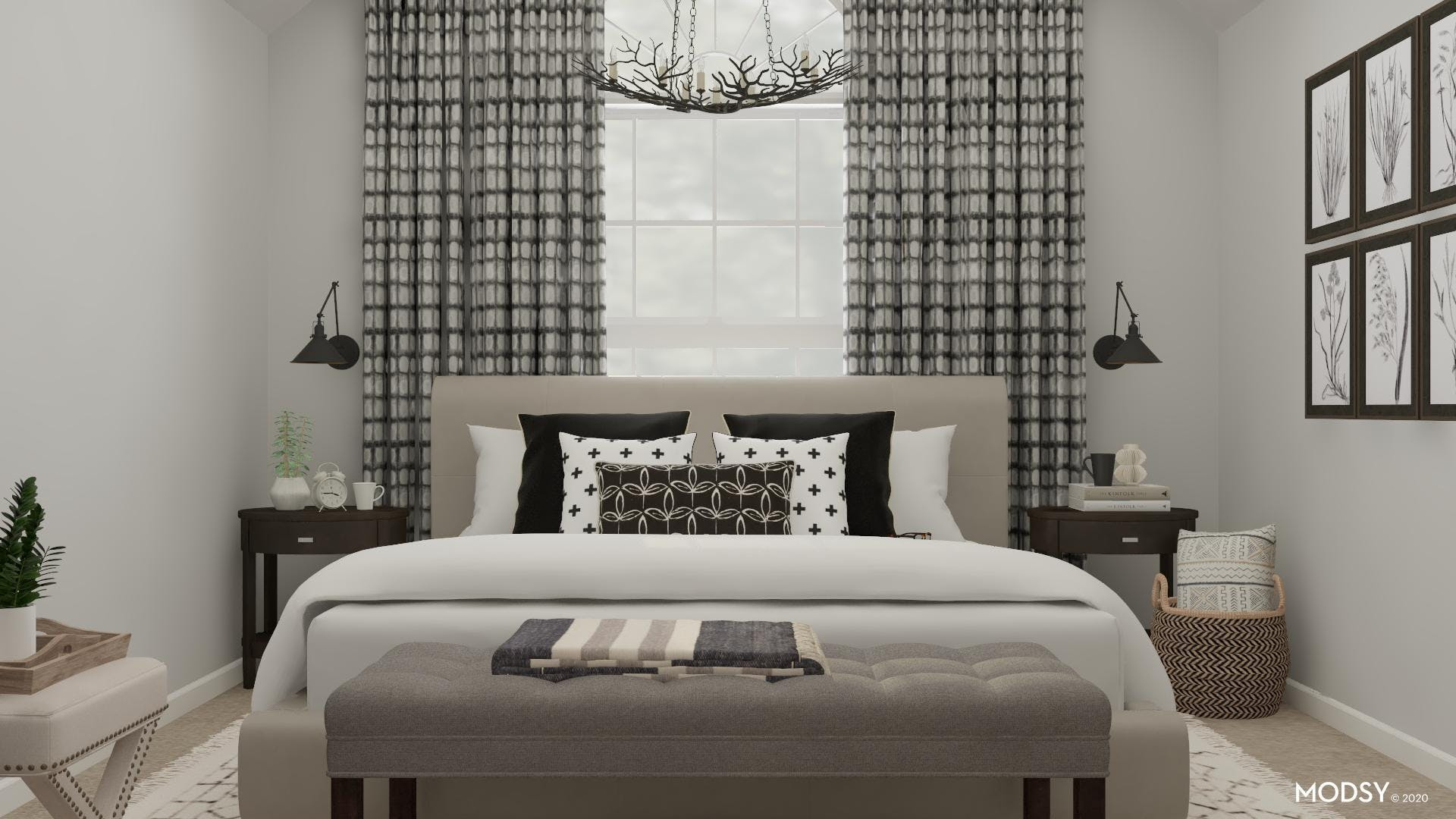 A Traditional Bedroom With Black & White Accents!
