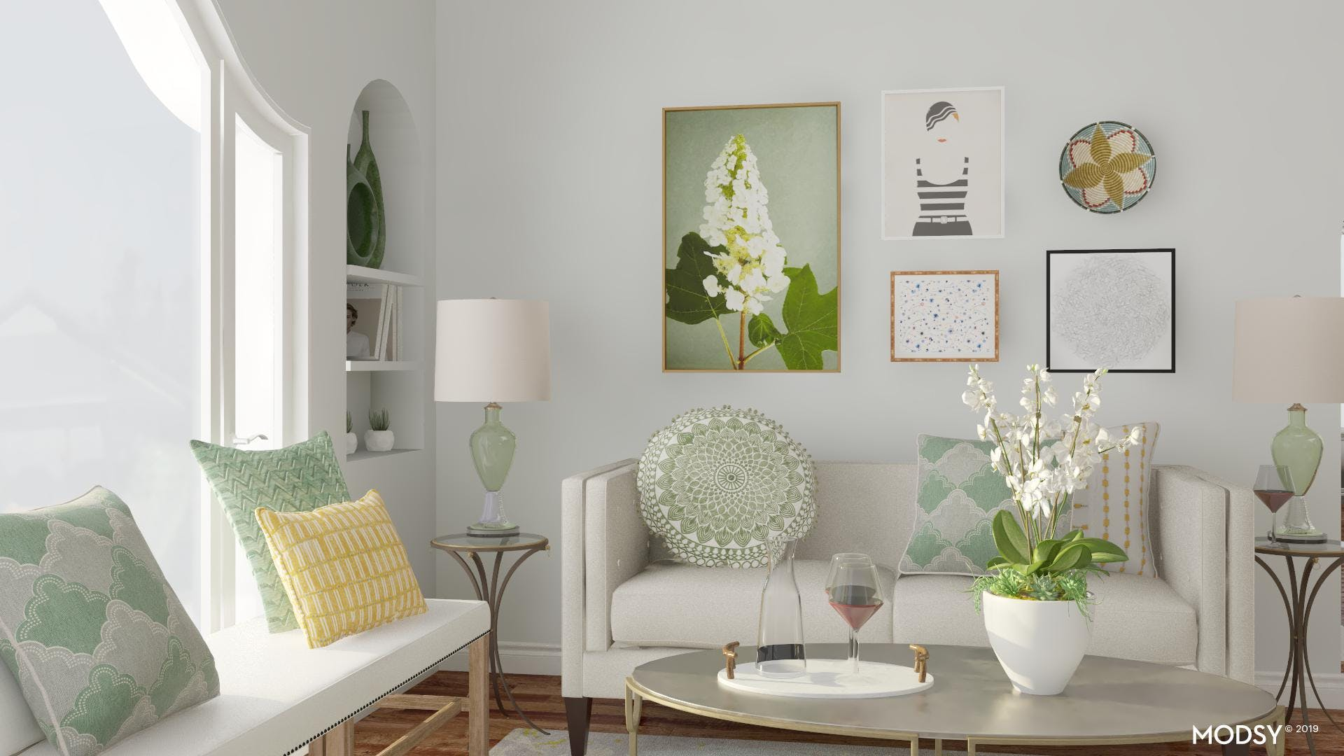 Simple Eclectic Living Room with Green Accents