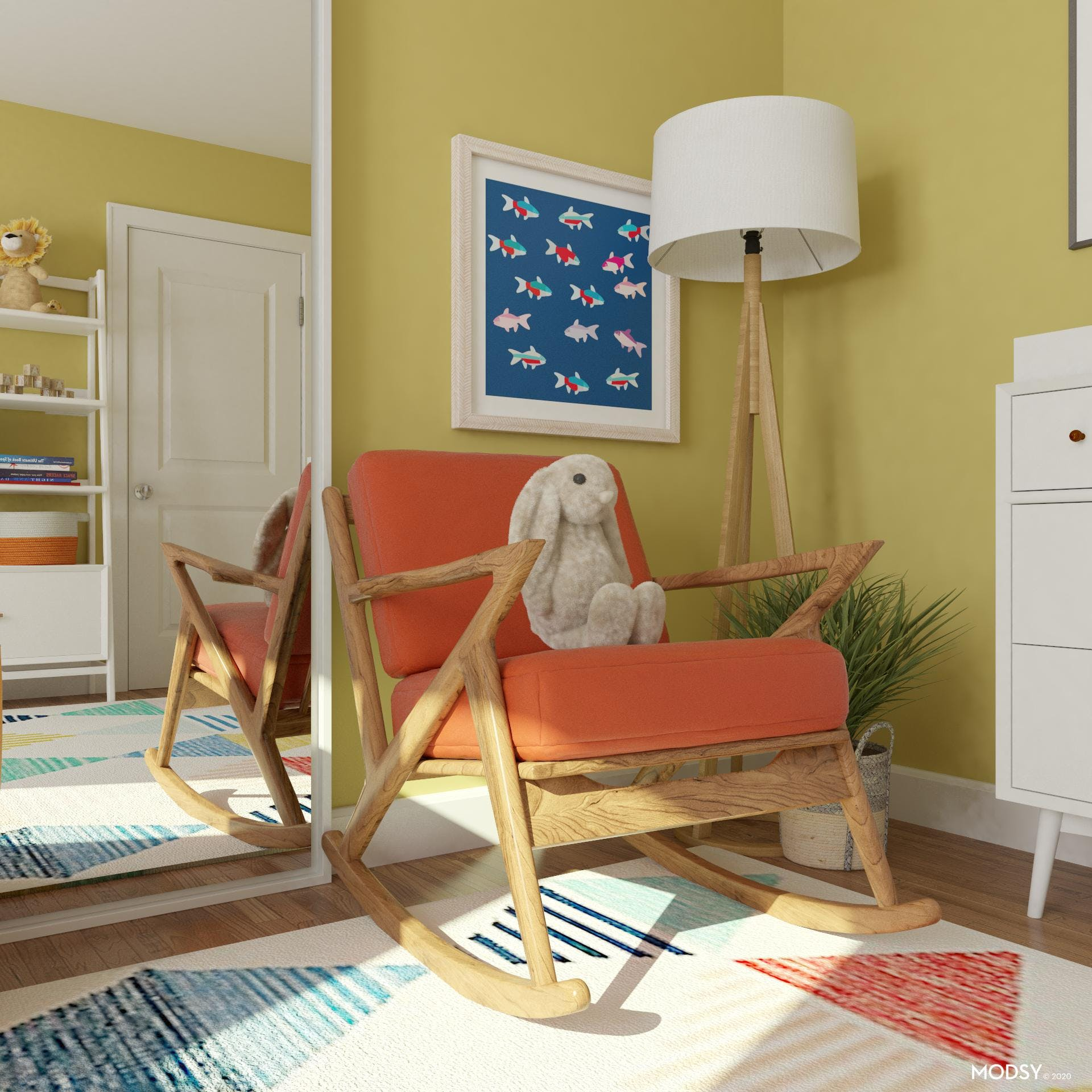 Cozy Rocking Chair in Multi Colored Nursery