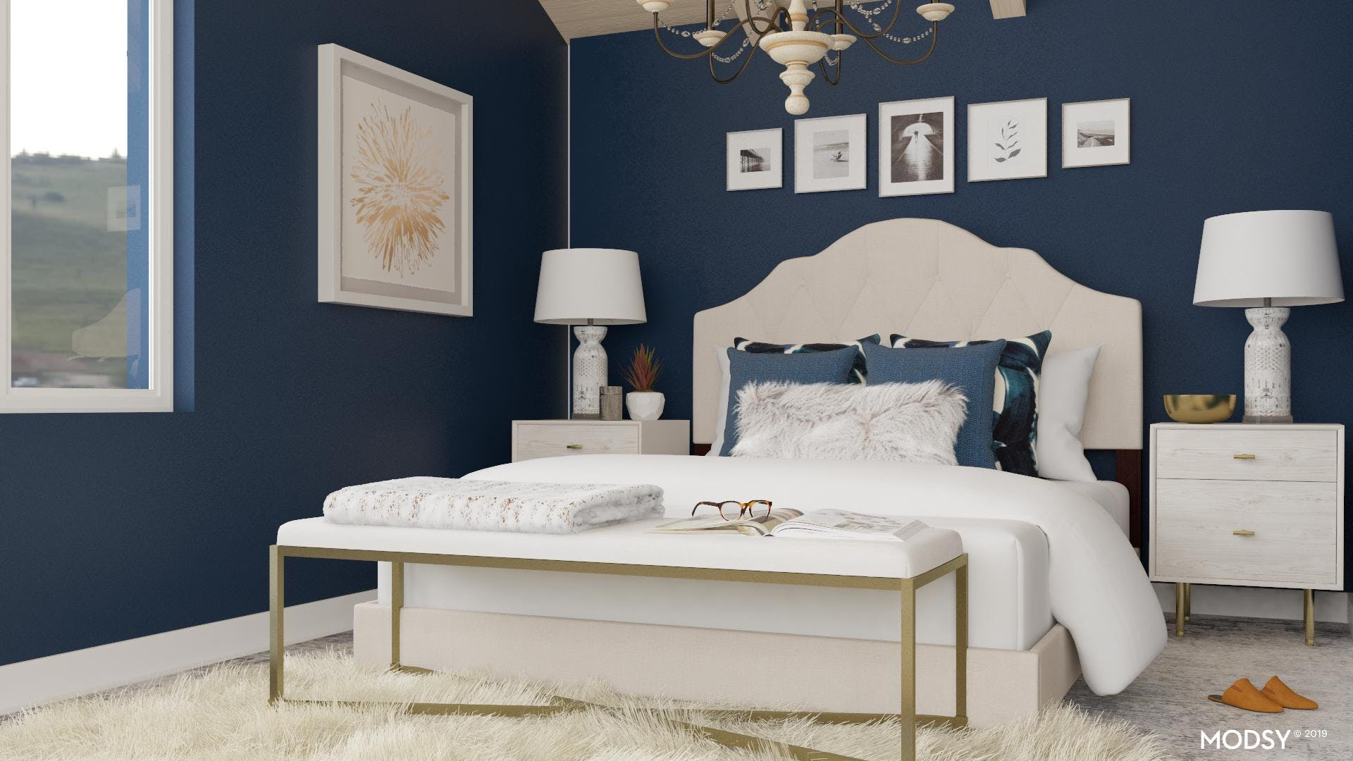 Glamourous and Comfortable Bench in a Bedroom