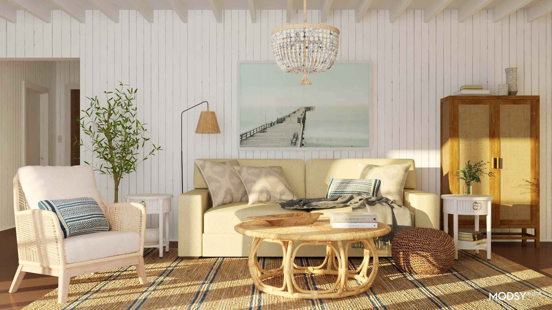 A Coastal Living Room Filled With Mixed Neutrals
