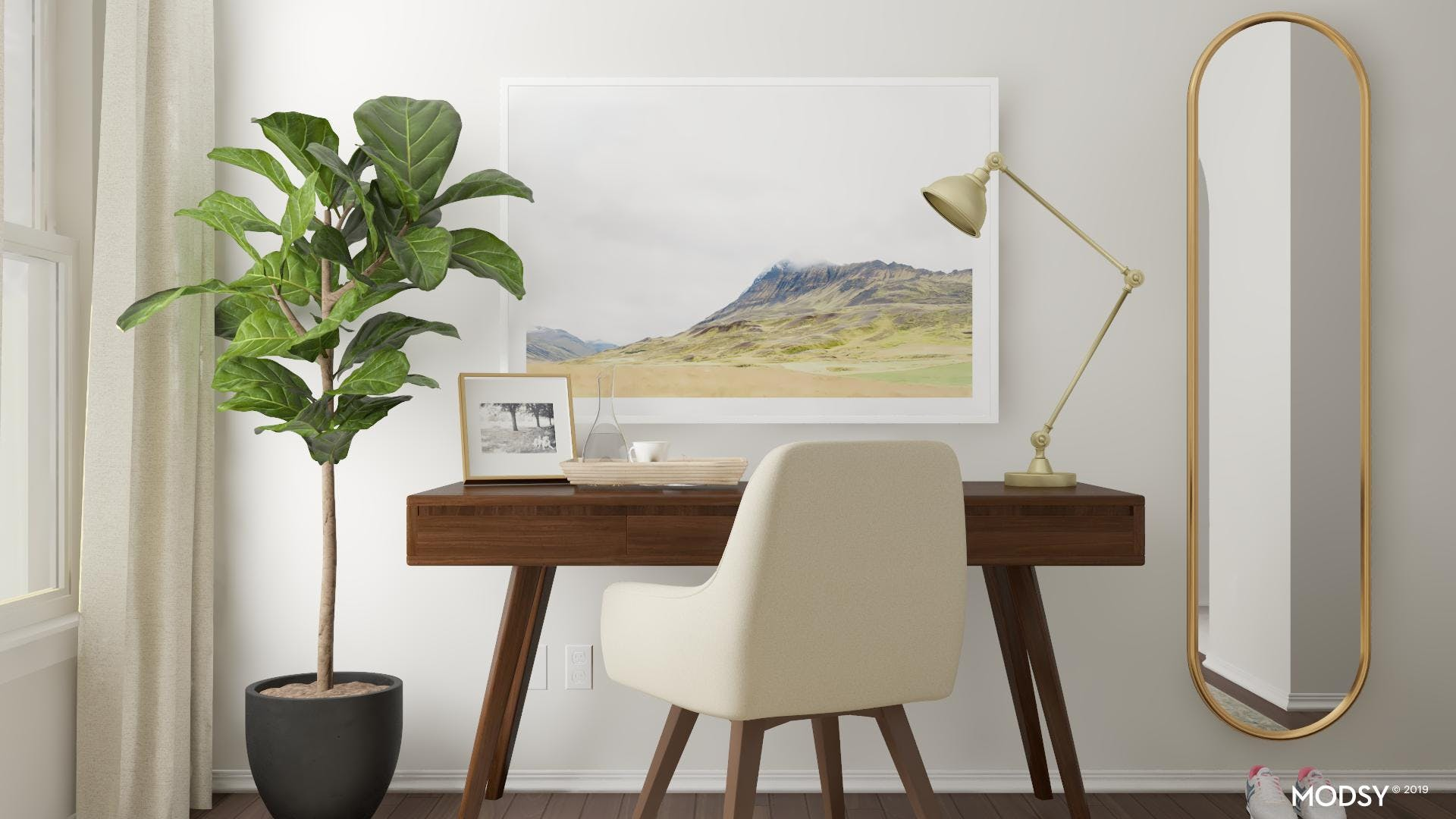 Earth-Tone Styling For A Small Office