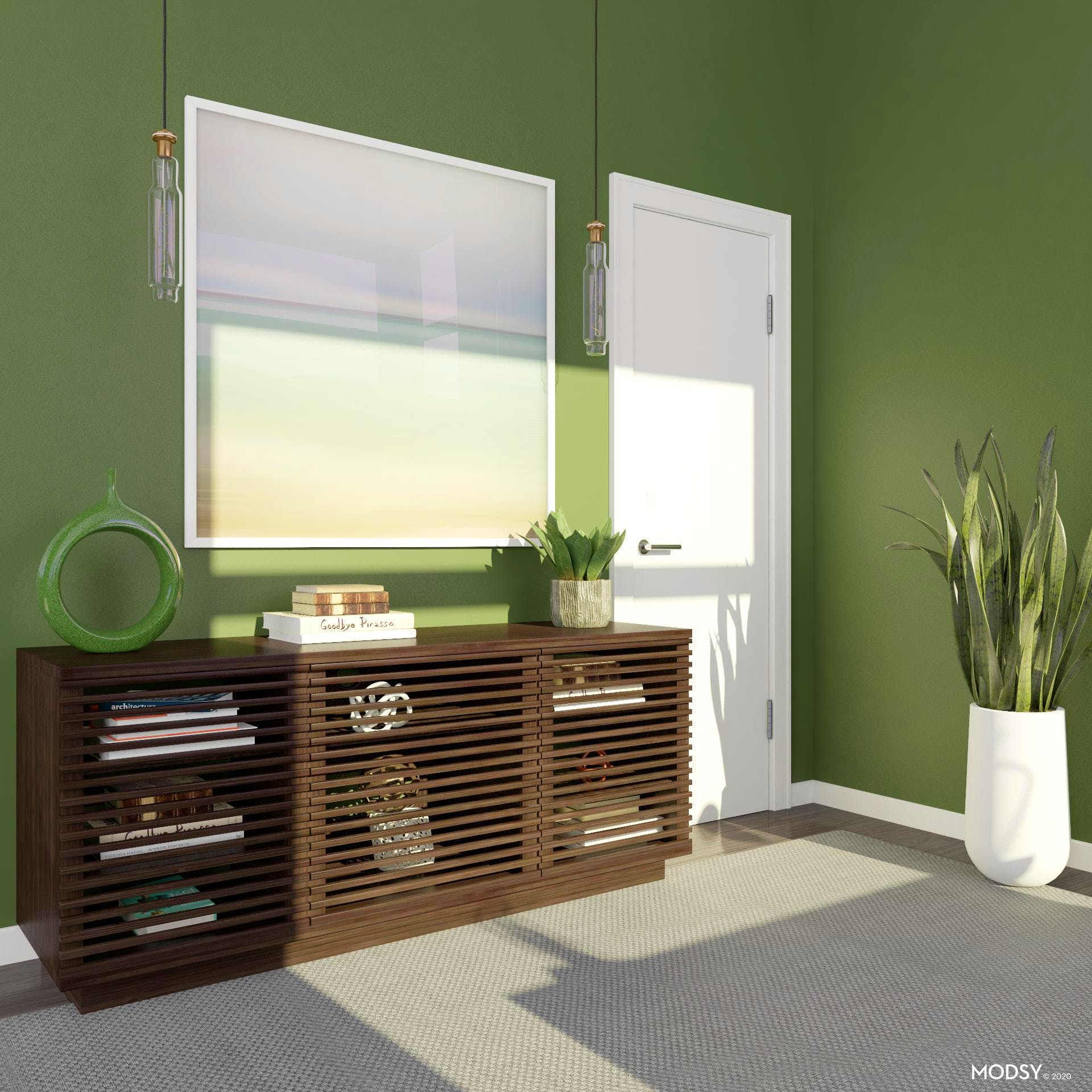 Storage with a Pop of Green