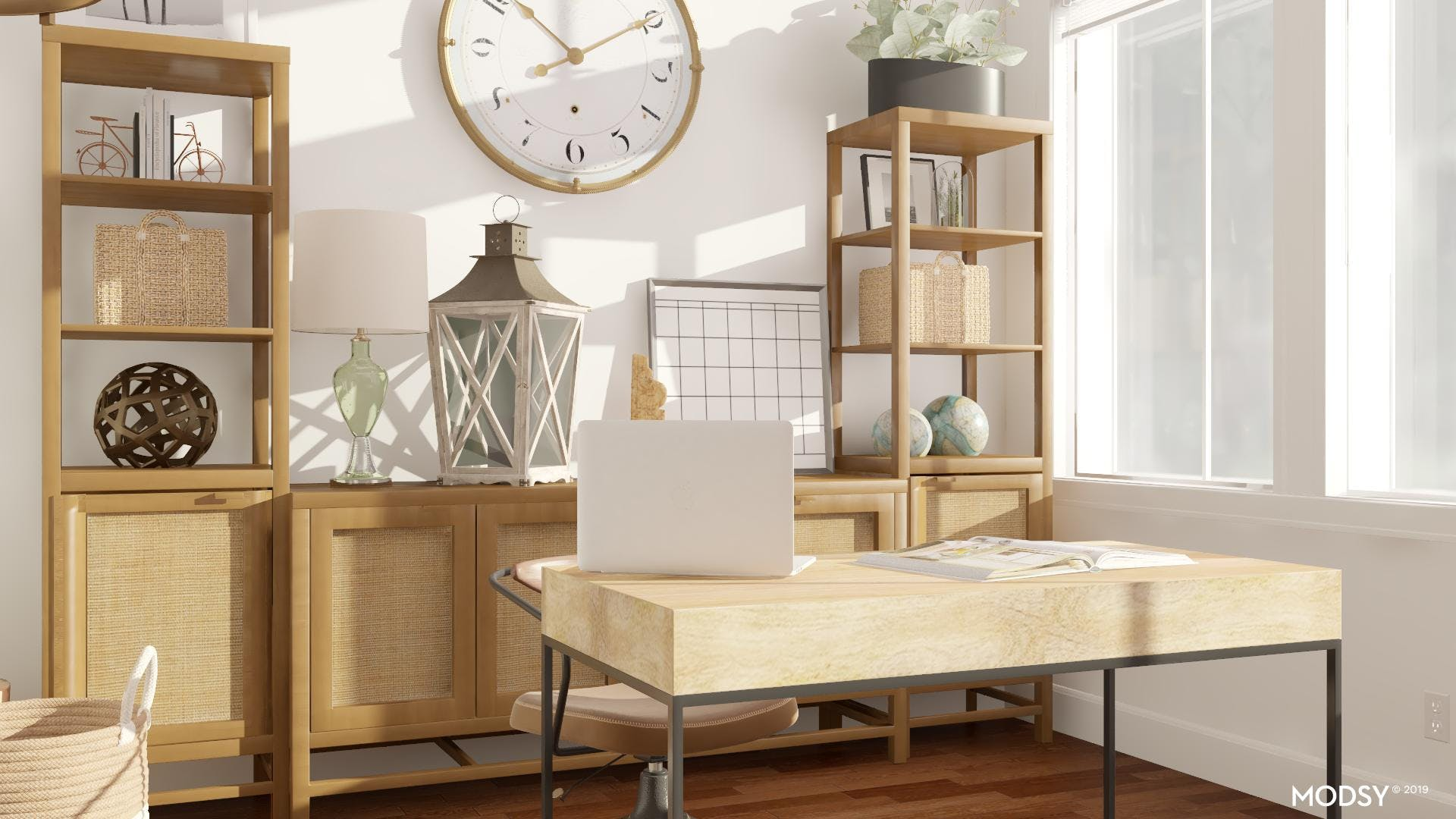 Decorating Bookcases in Coastal-Style Offices