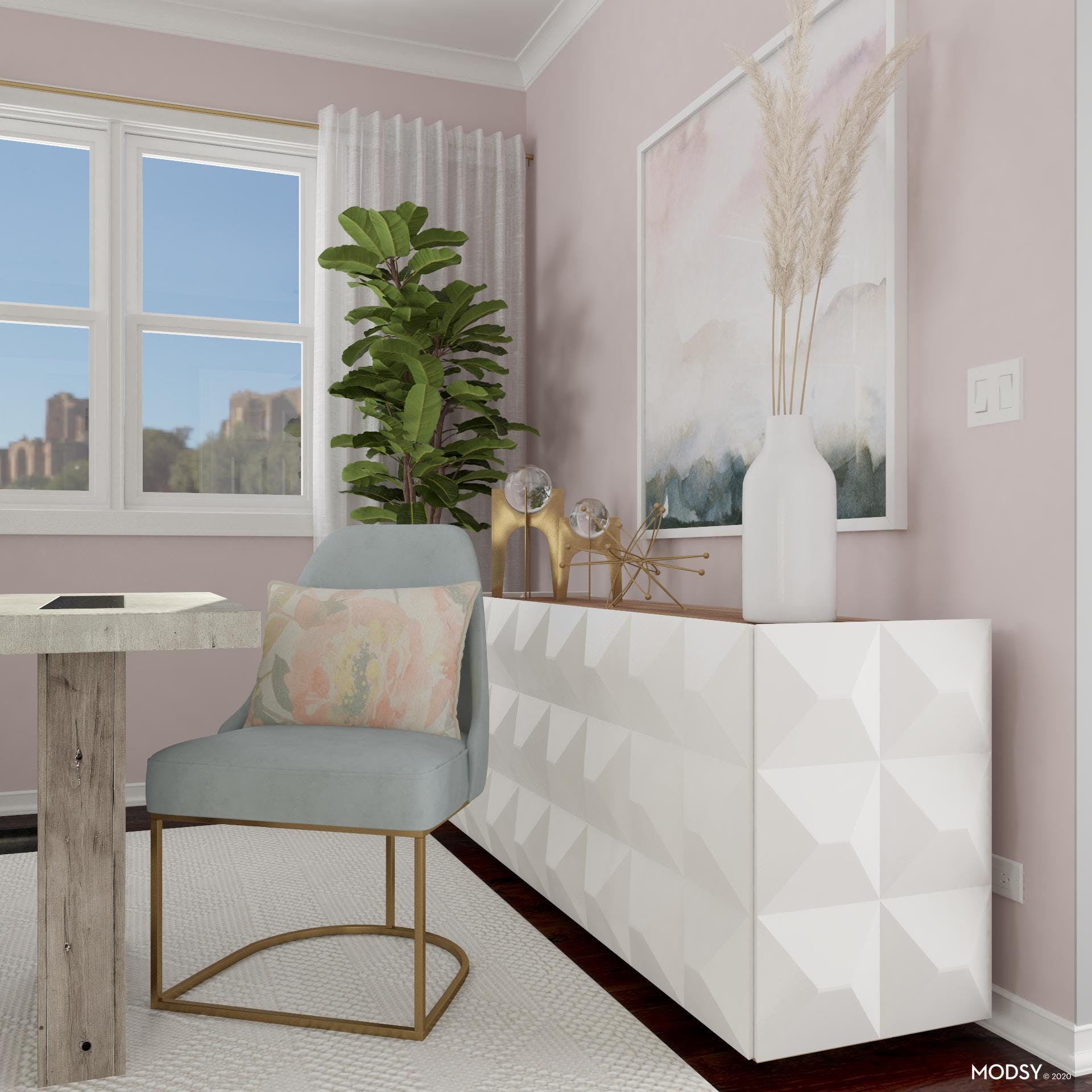 Contemporary Dining Room in Pastels