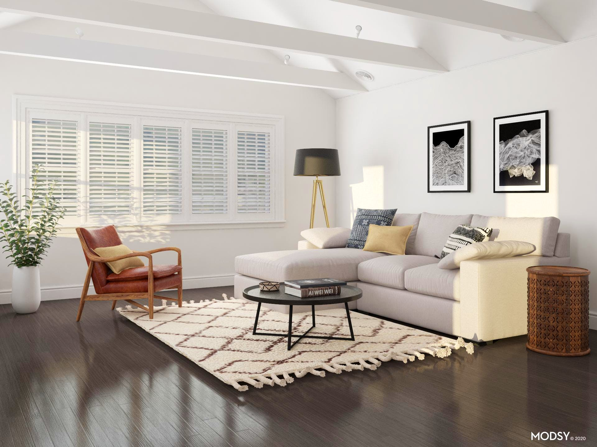 Mid-Size Woven Rug Adds Extra Comfort to Cozy Contemporary Living Room
