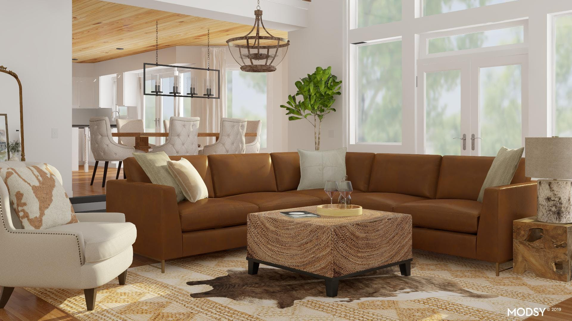 Warm And Trendy Rustic Living Room