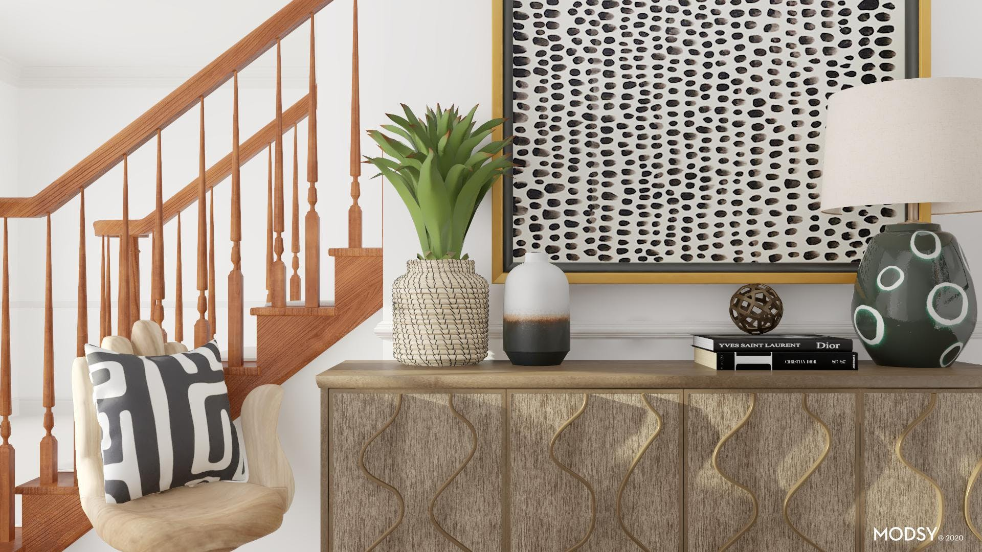 Eclectic Entry Design In Black And White