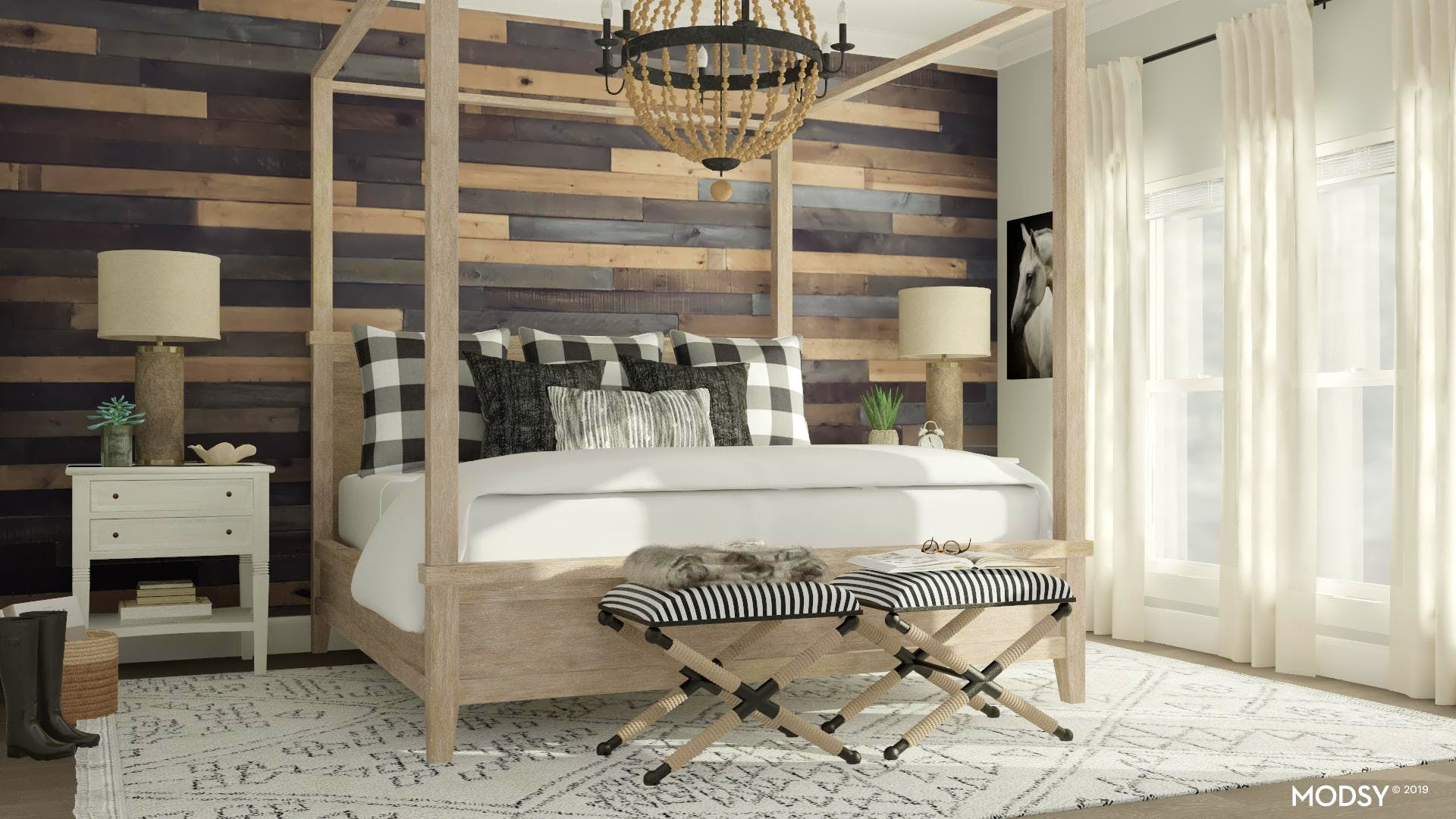 Rustic Bedroom: Black & White Edition