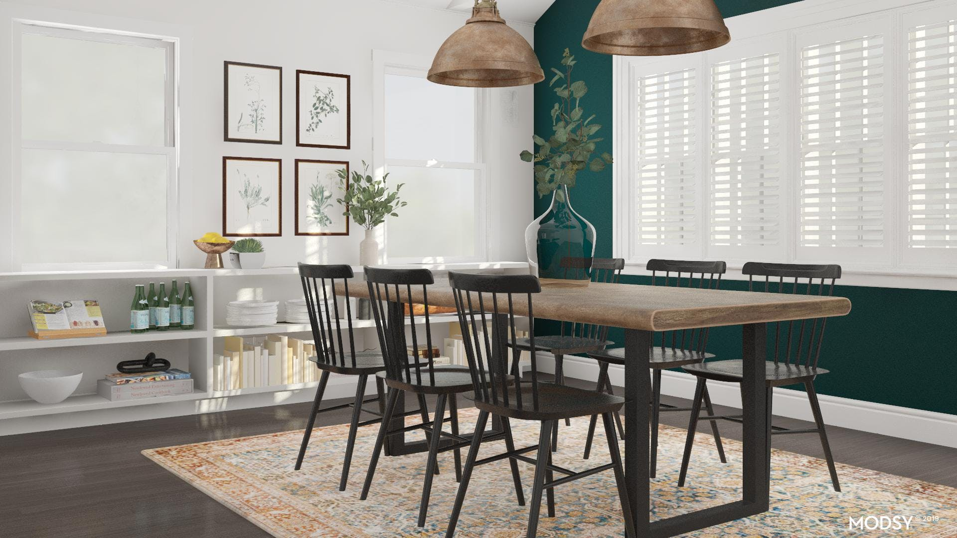 Modern Rustic Dining Room With Green Accent Wall