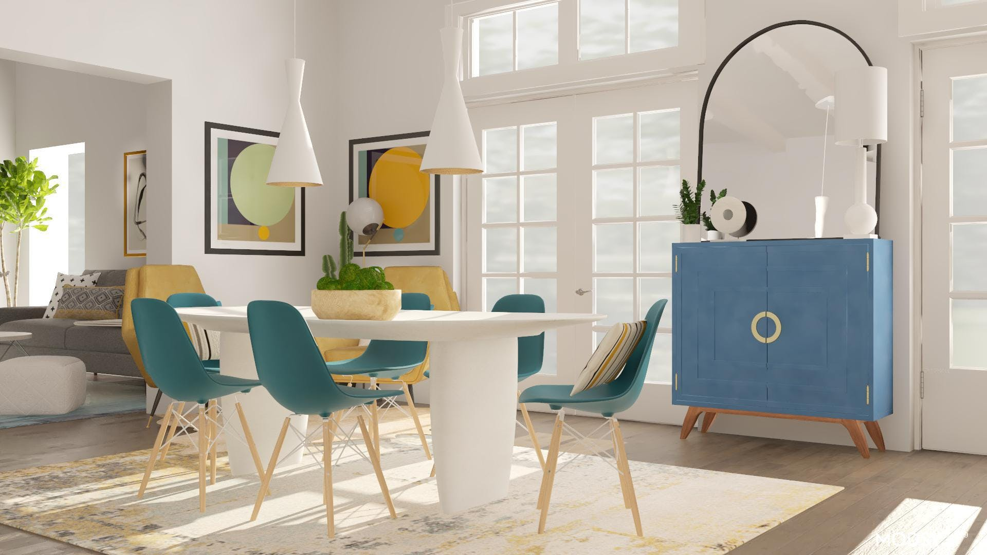 A Mid-Century Dining Room With Bold Colors