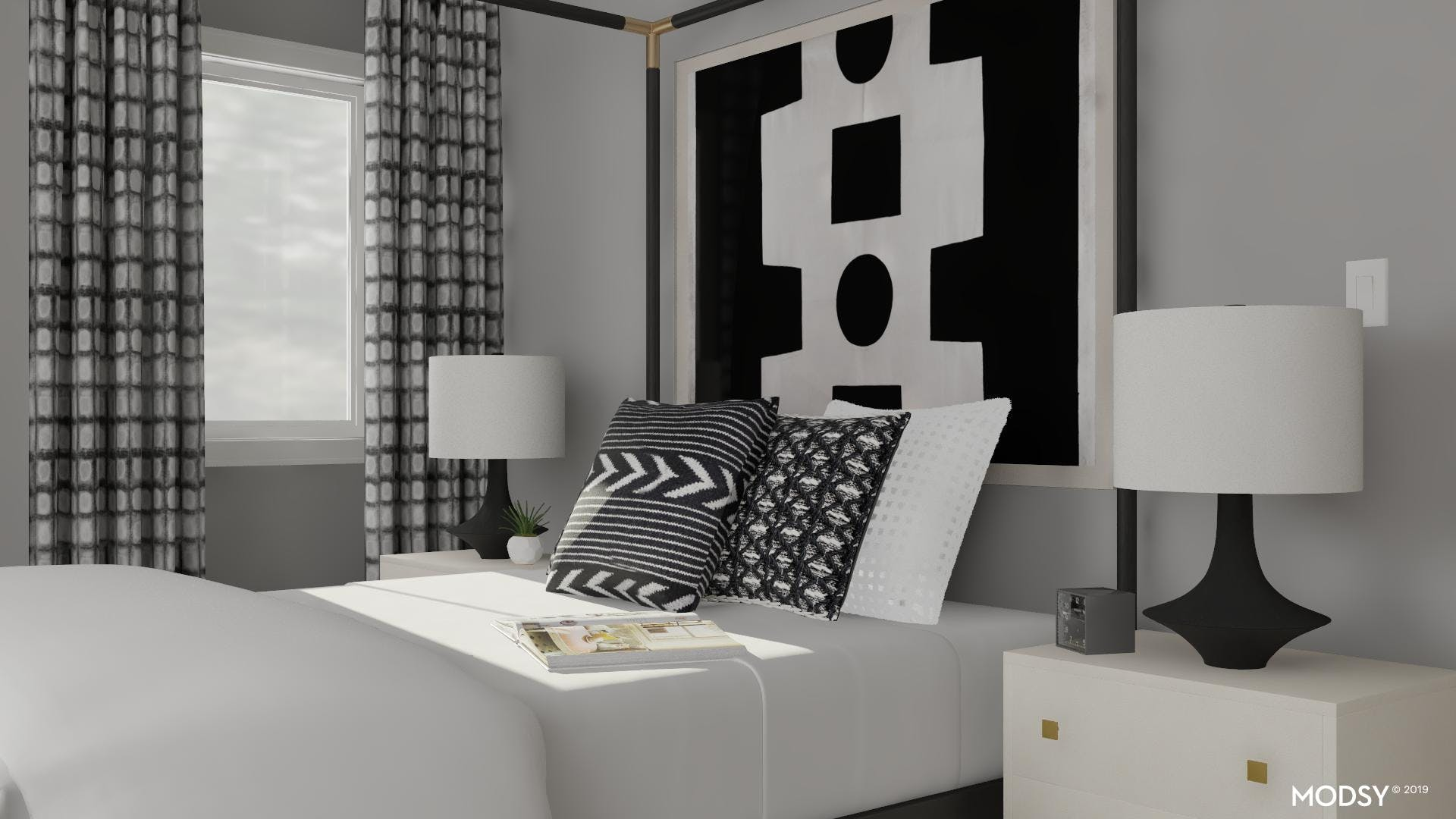 Contemporary Bedroom in Black and White