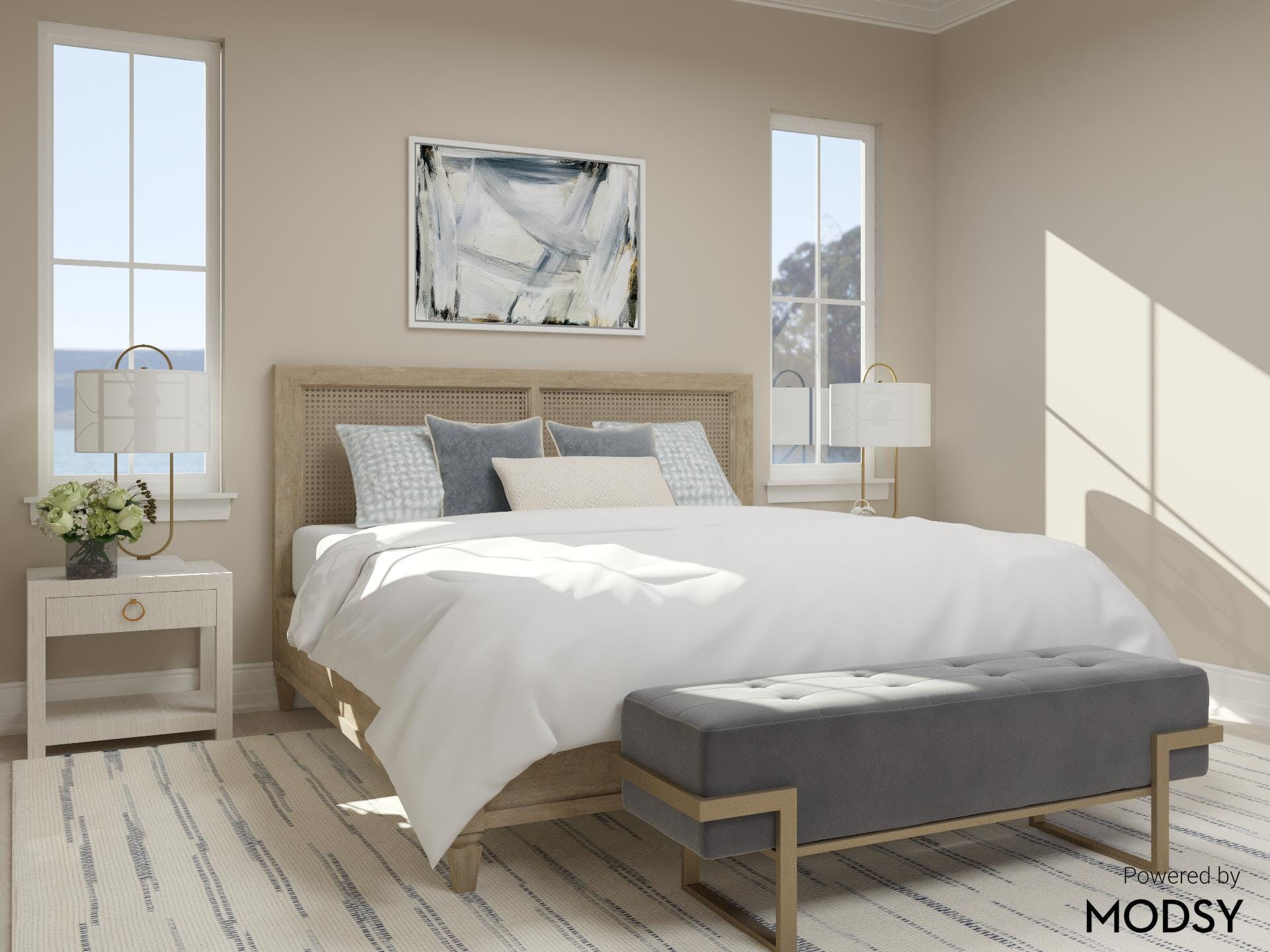 Coastal Transitional Bedroom With Twin Nightstands
