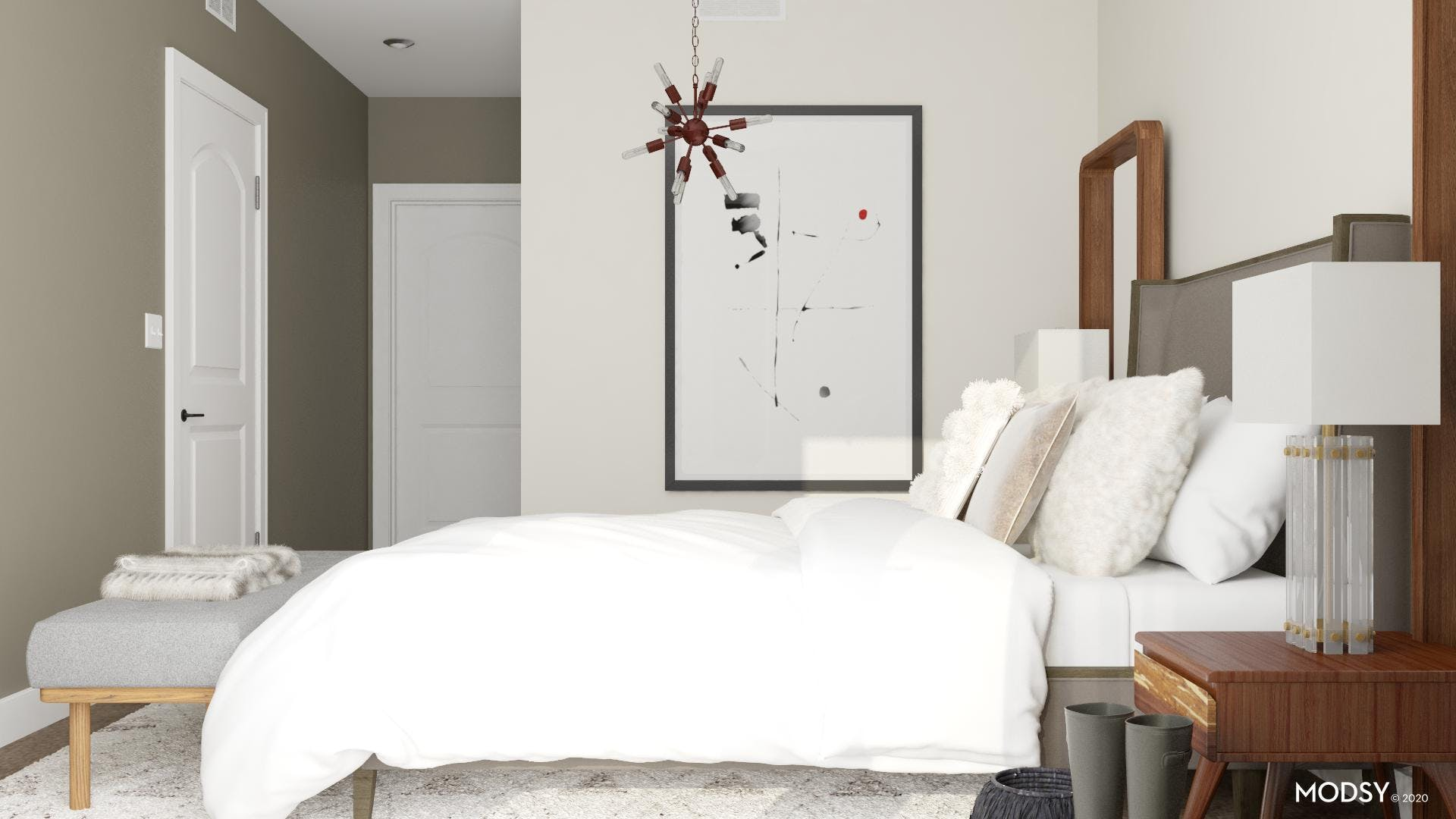 A Pendant Nice Touch Of Modern In The Bedroom