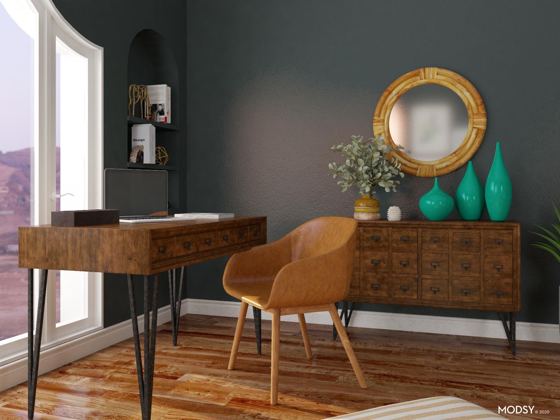 Cool Greens: Eclectic Office