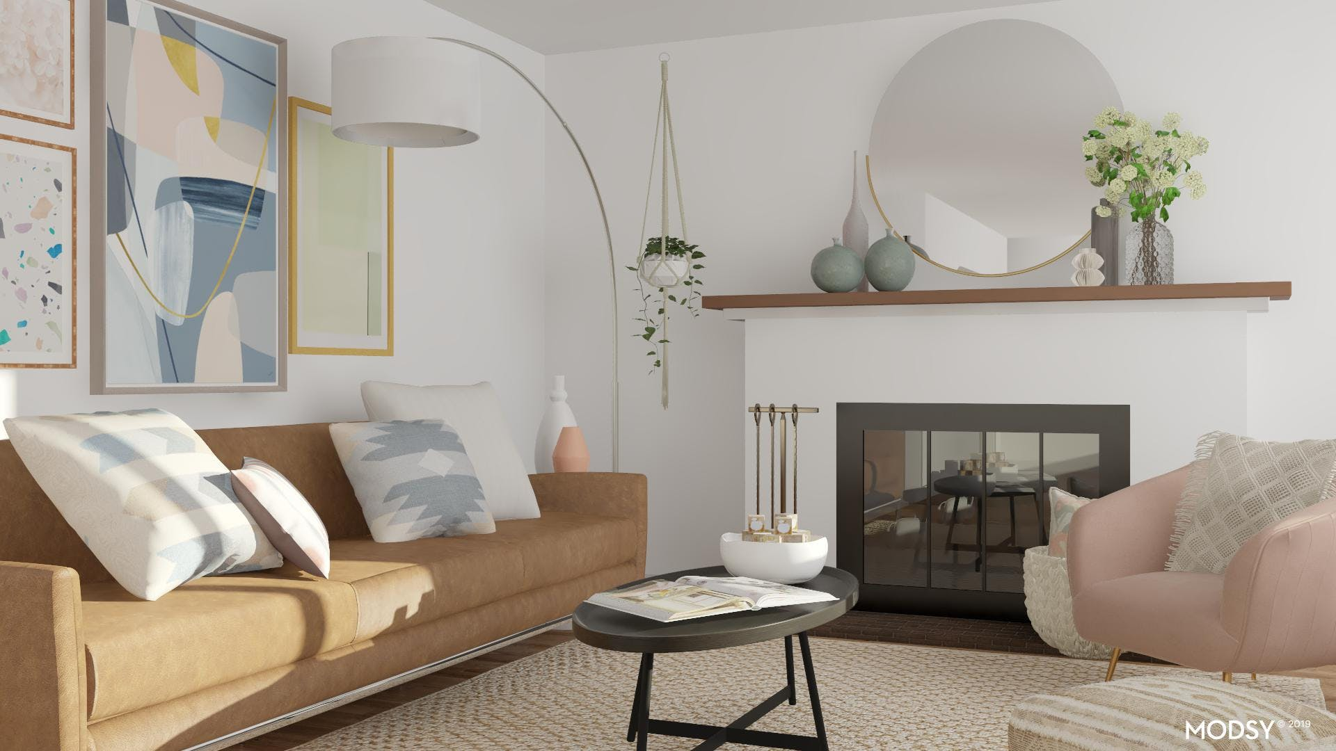 Pastel Accents in Mod Living Room
