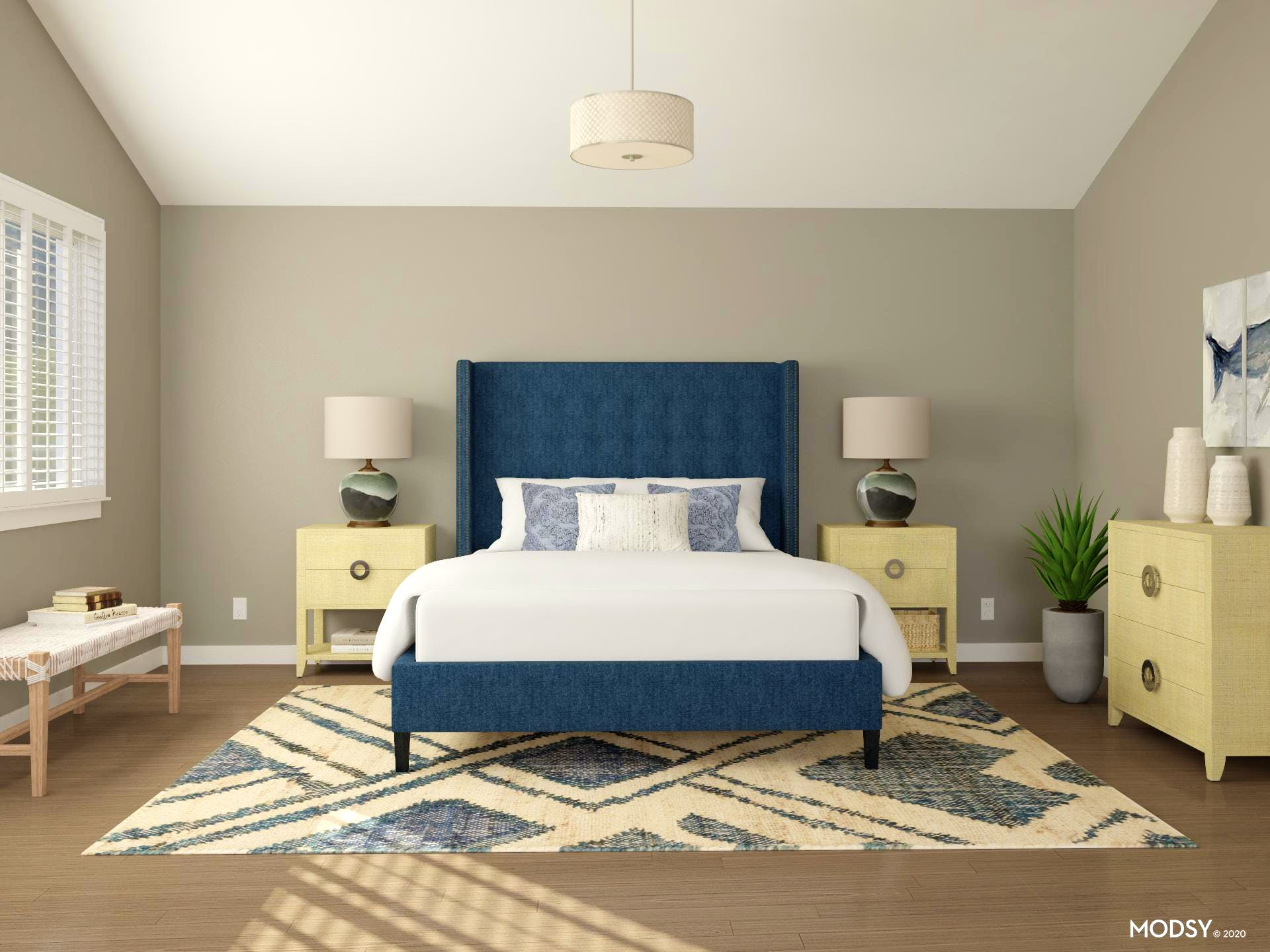 Rustic and Transitional Bedroom Mid-Size Rug