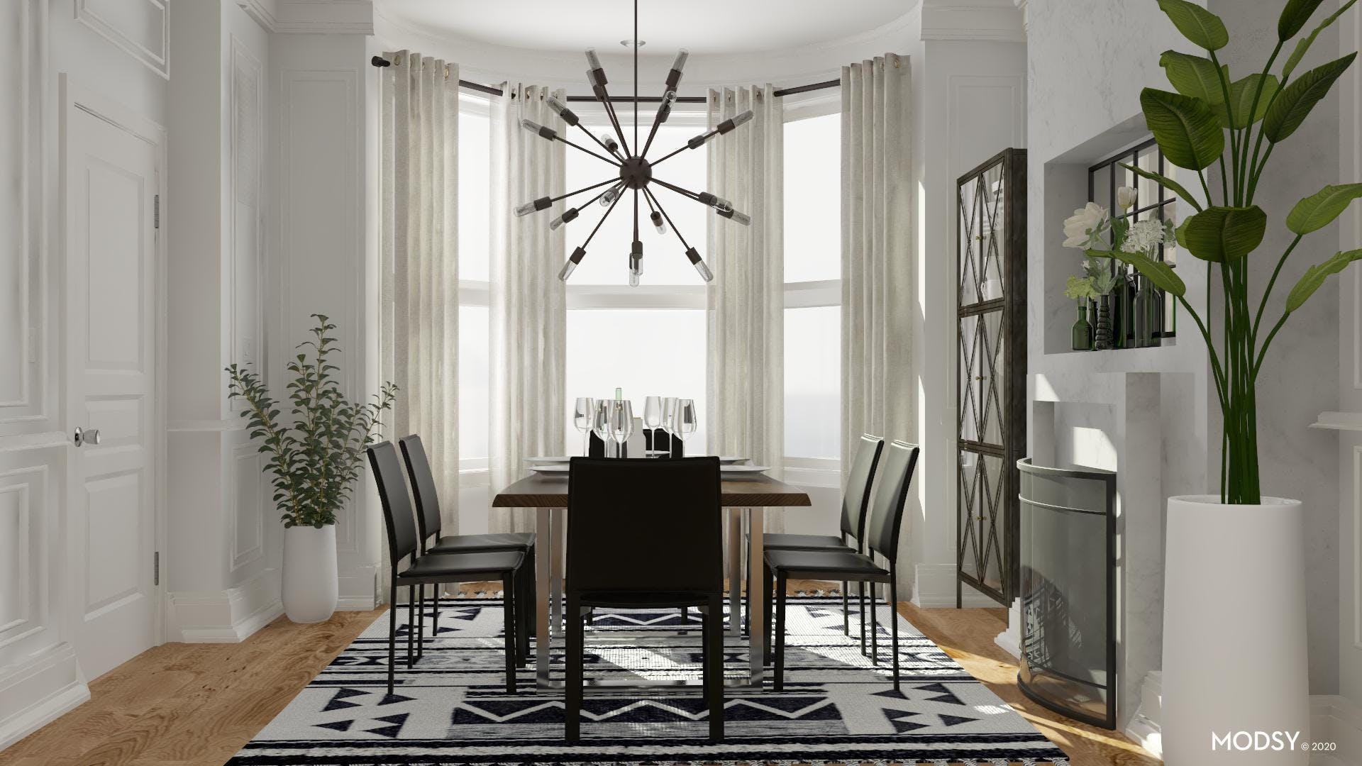 Industrial Dining Room With A Black And White Color Scheme