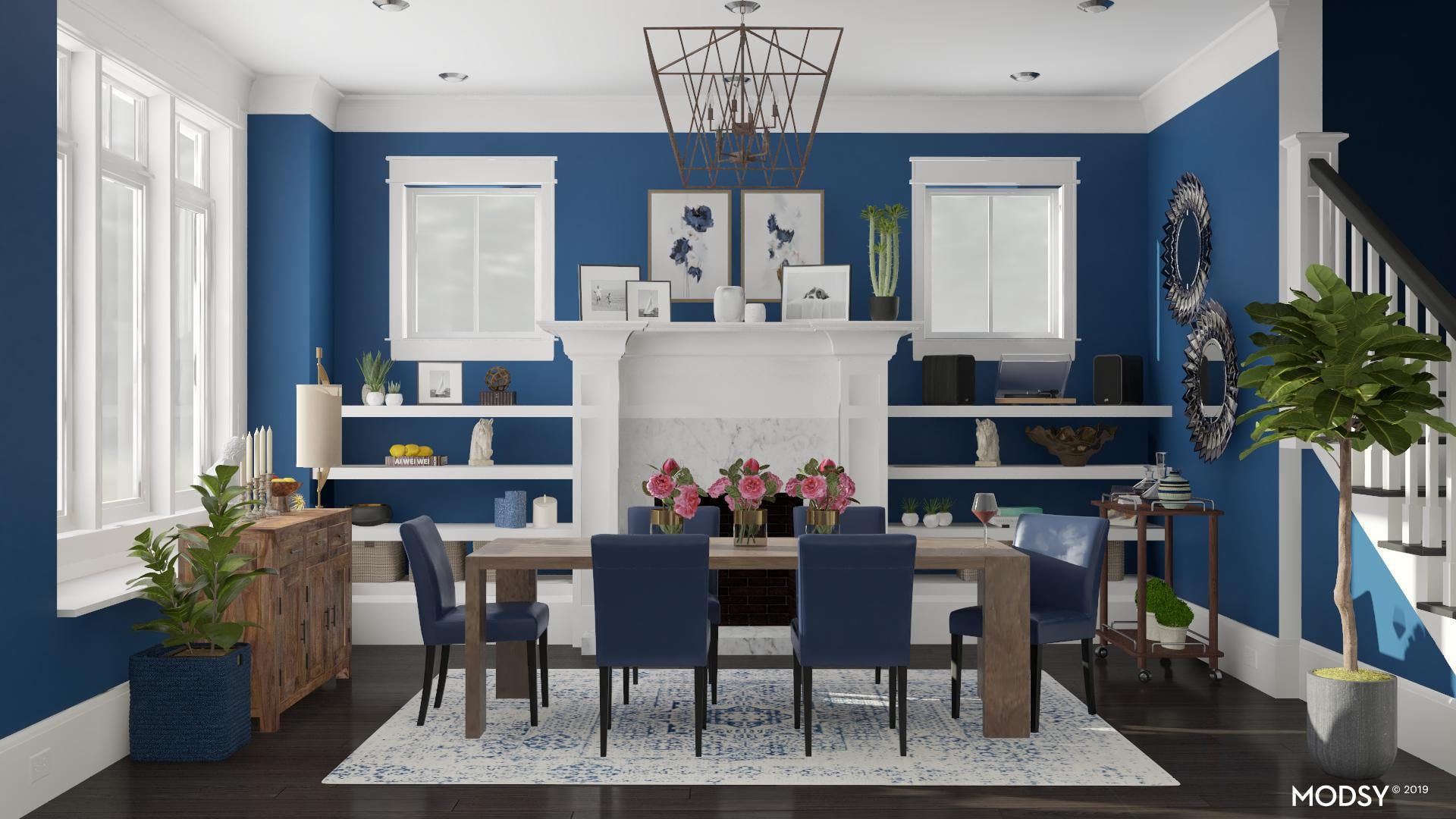 Blues on Blues: Traditional Dining Room