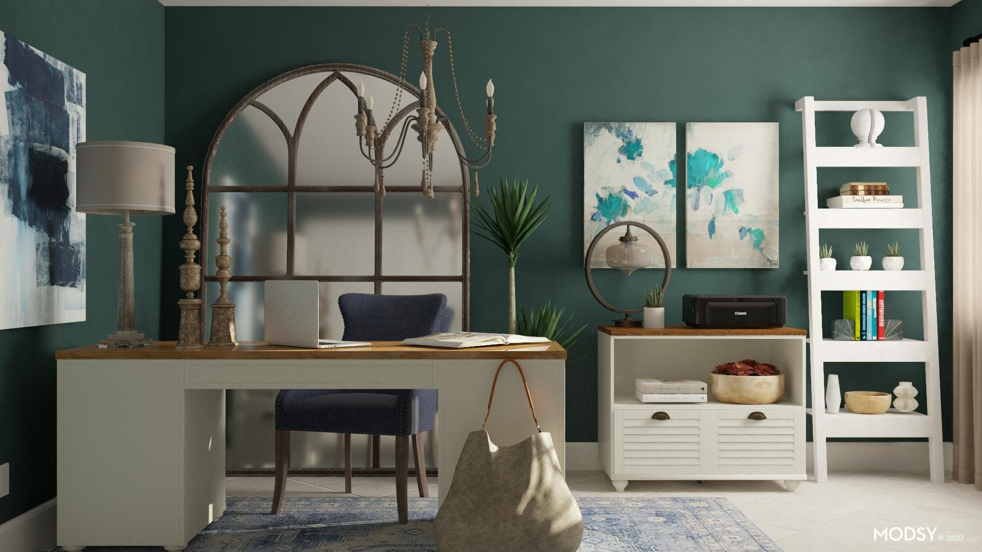 Traditional Jewel Toned office
