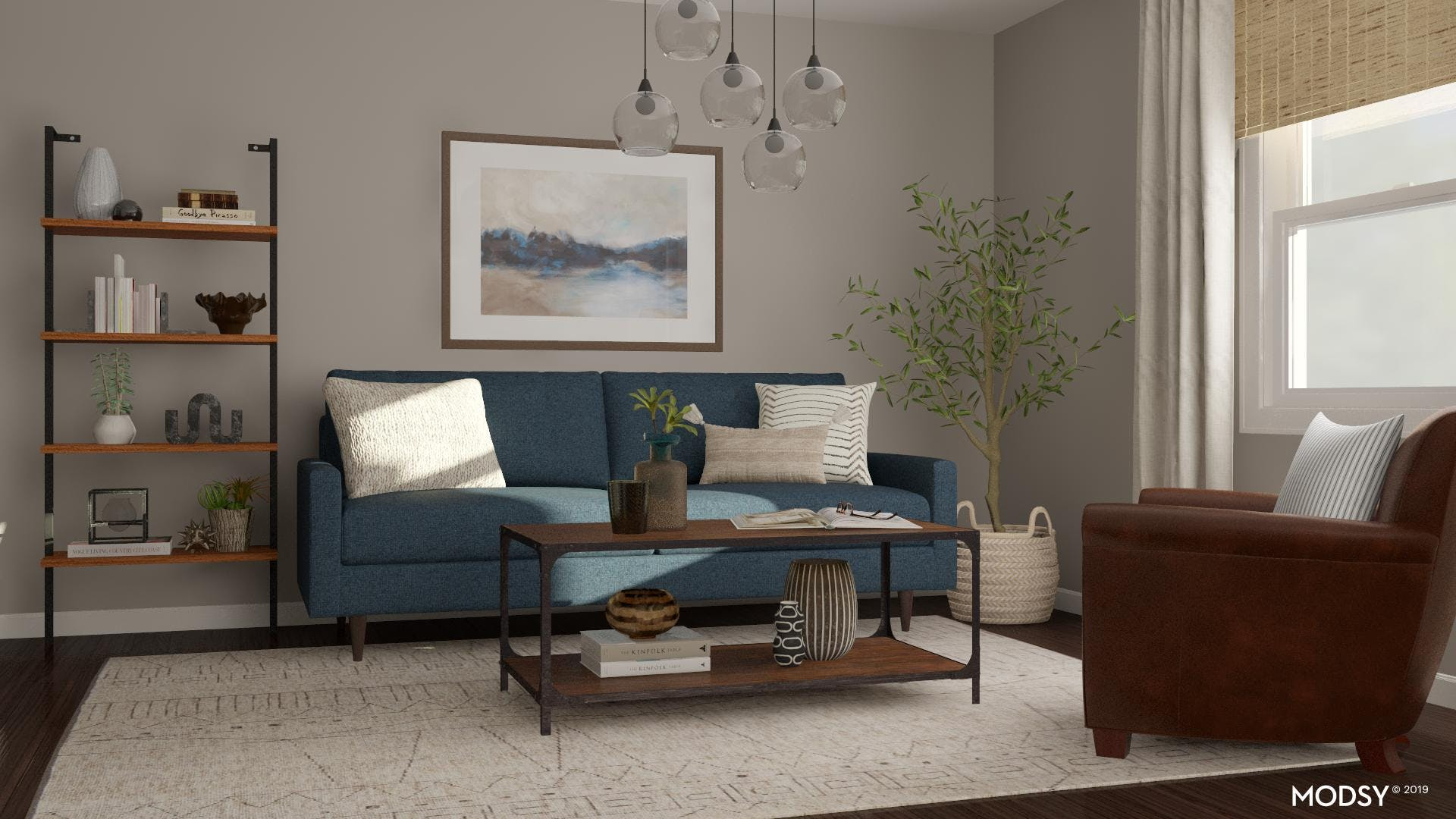 Classic Blue And Brown In A Modern Living Room