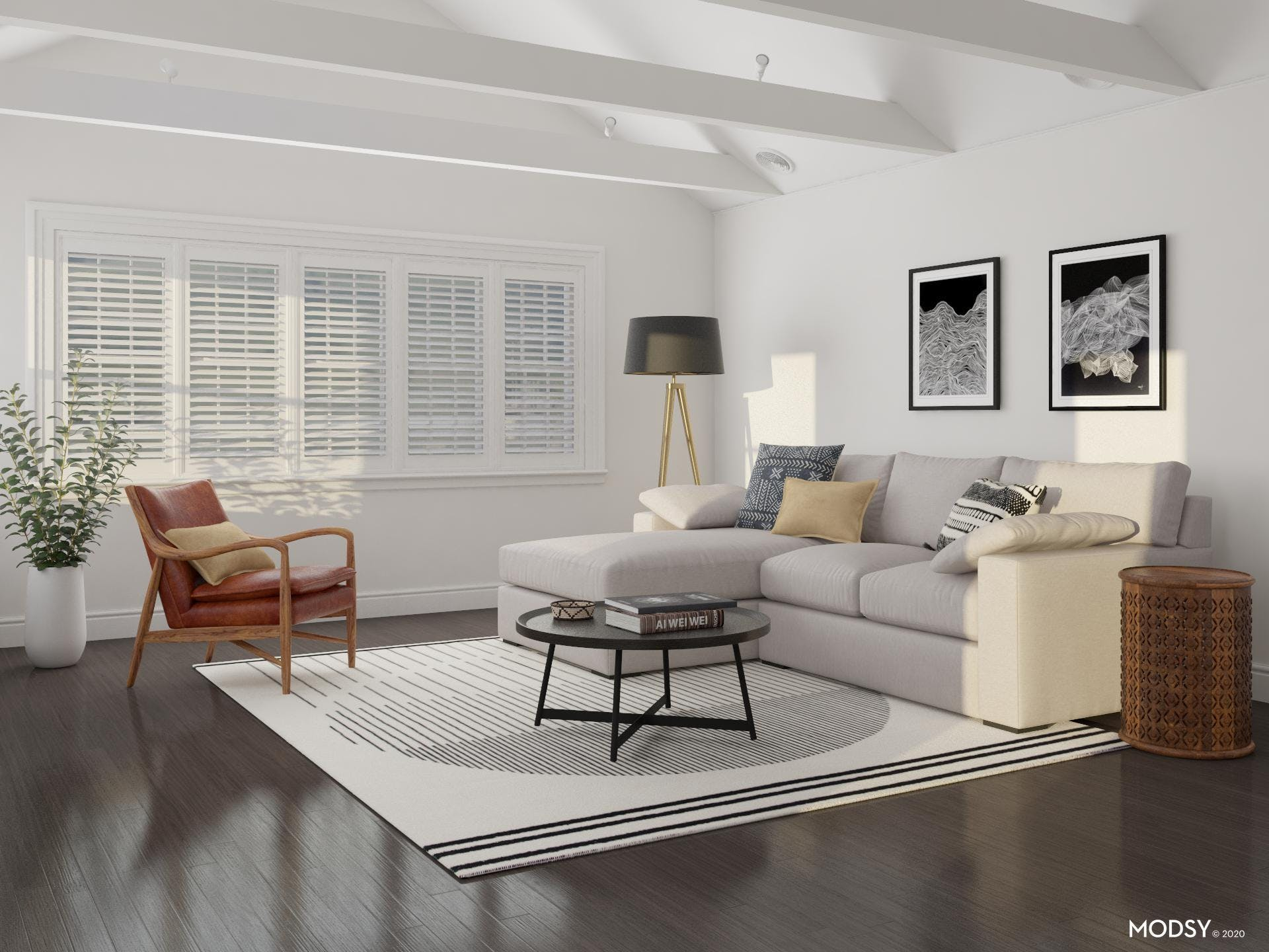 Abstract Patterned Rug Adds Pattern to Comfy Contemporary Living Room