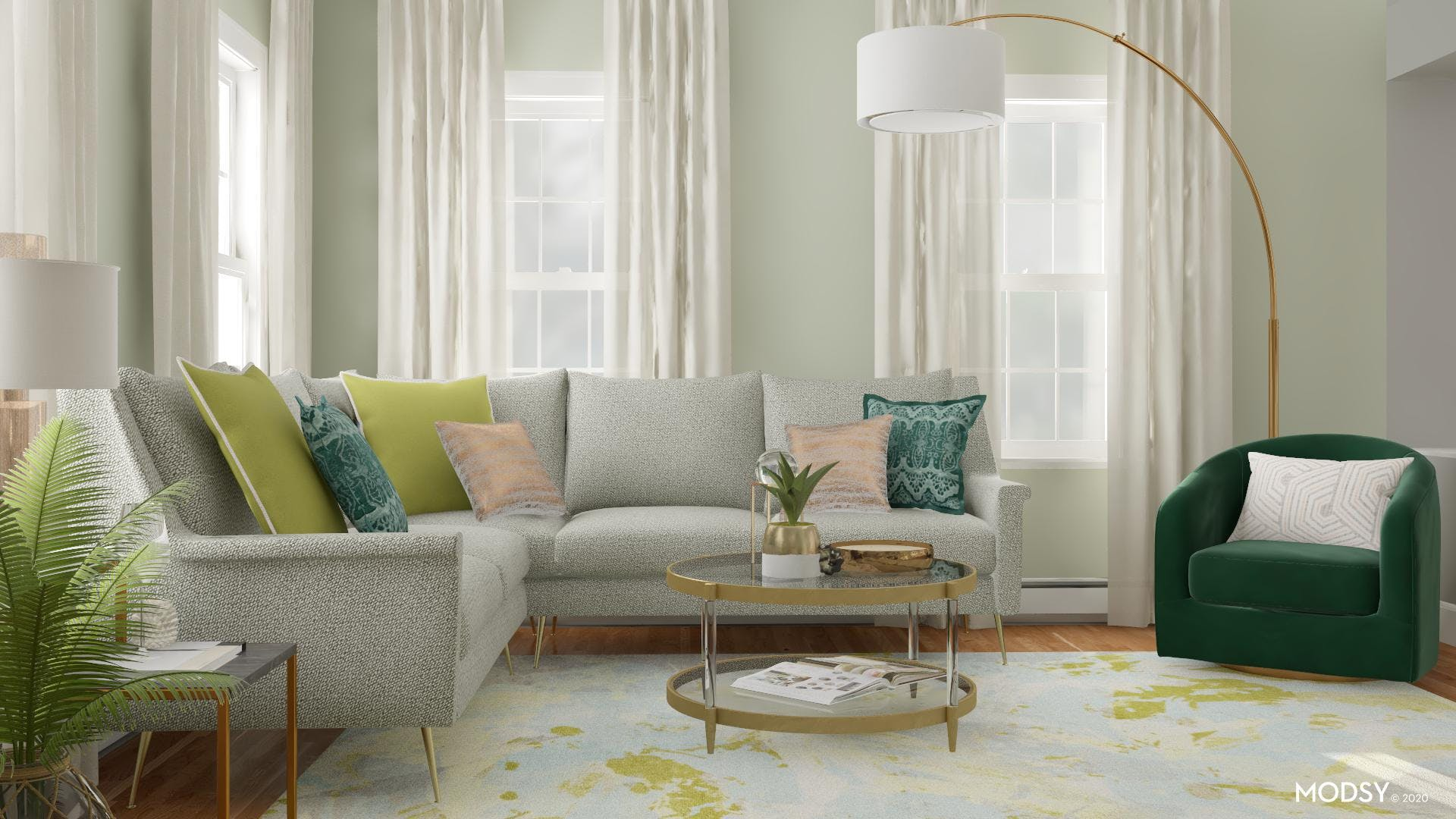 A Styled Living Room With Green
