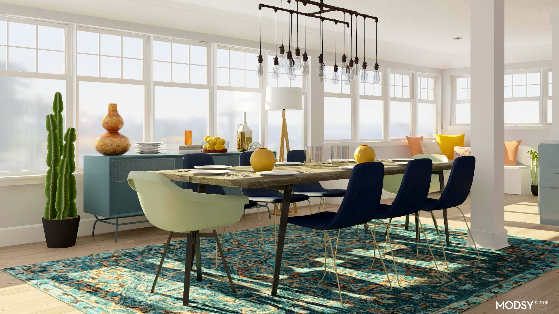 Industrial Dining Room with Color