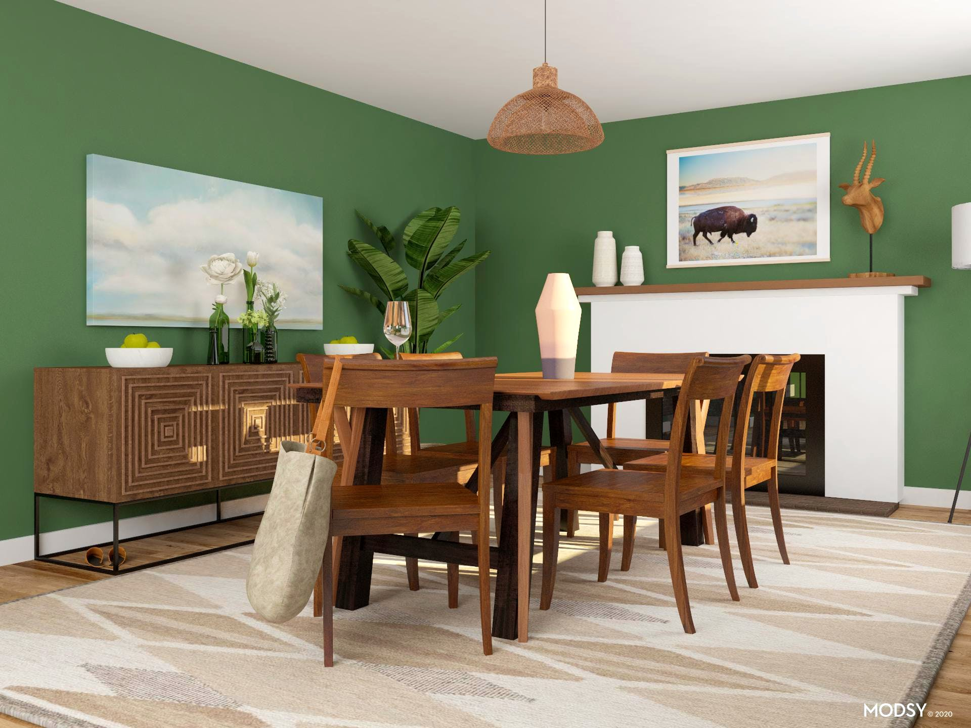 Rich in Earth Tones: A Minimalist Dining Room