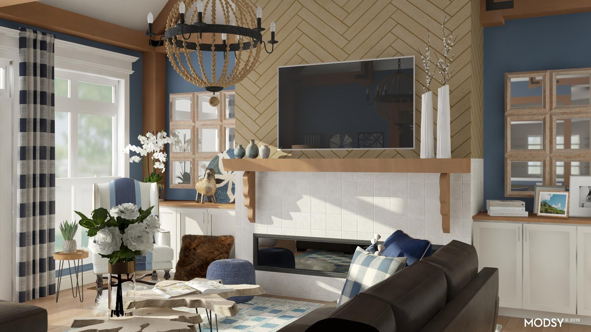 Blue Skies Eclectic Living Room
