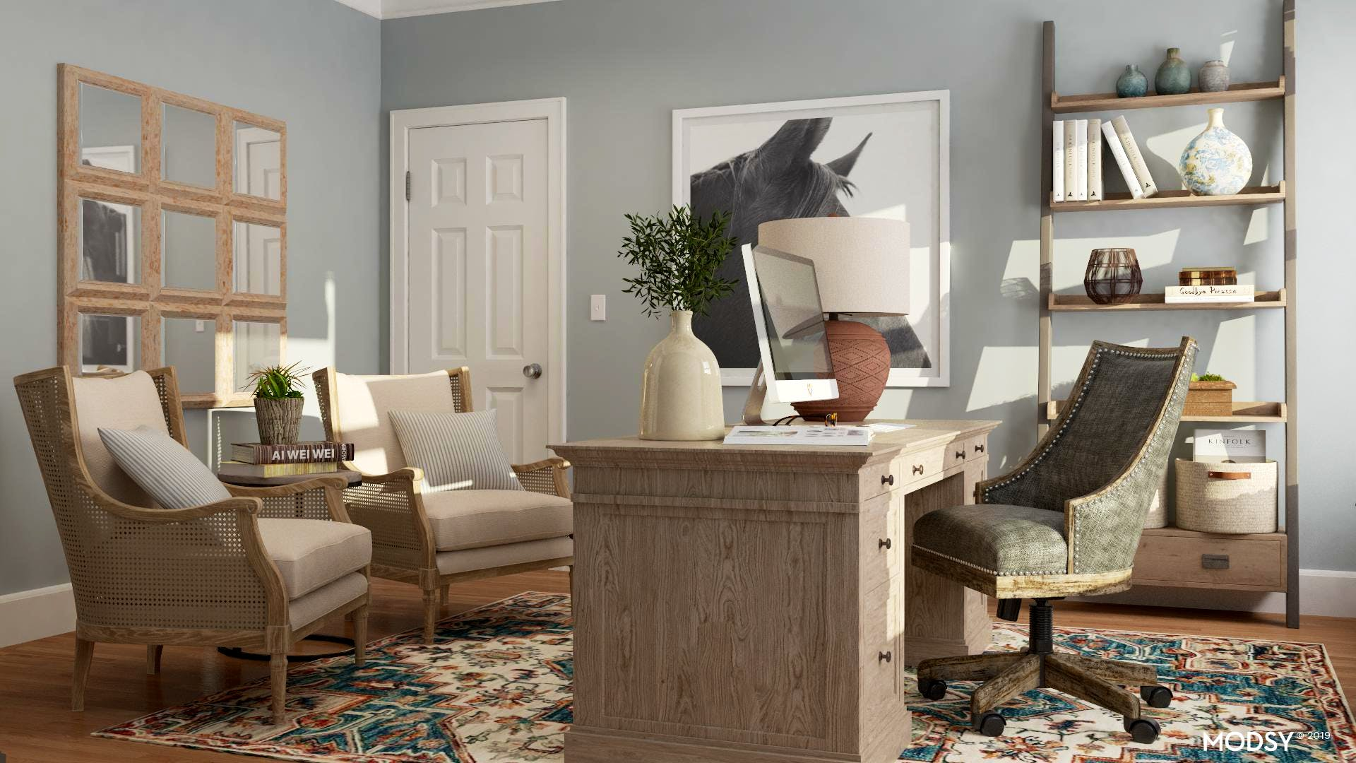 Moody Blues In A Rustic Home Office