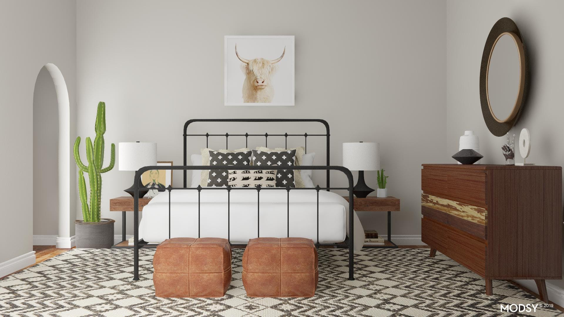 Black and White Rustic Bedroom