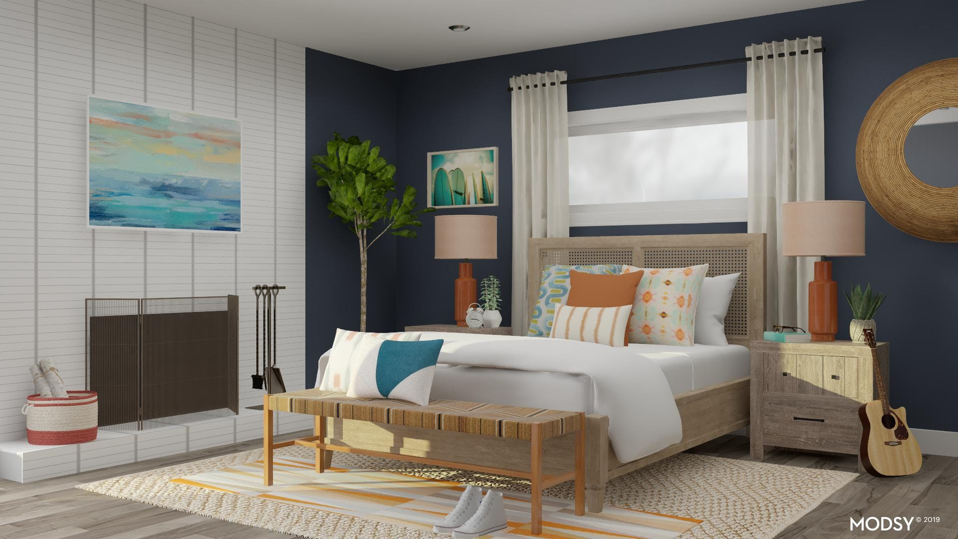 Colorful Costal Bedroom