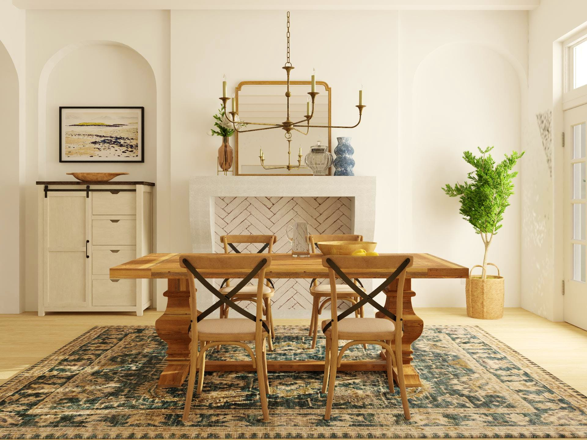Traditional Dining Room: Warm and Cool in Perfect Balance