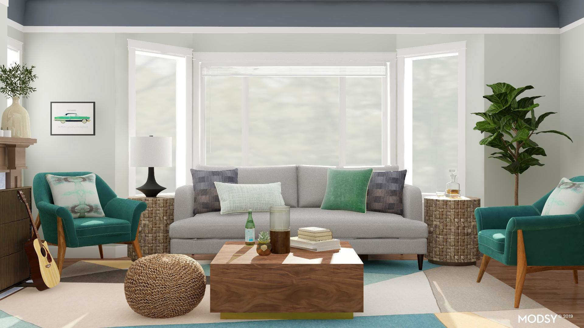 Bright Living Room In Green