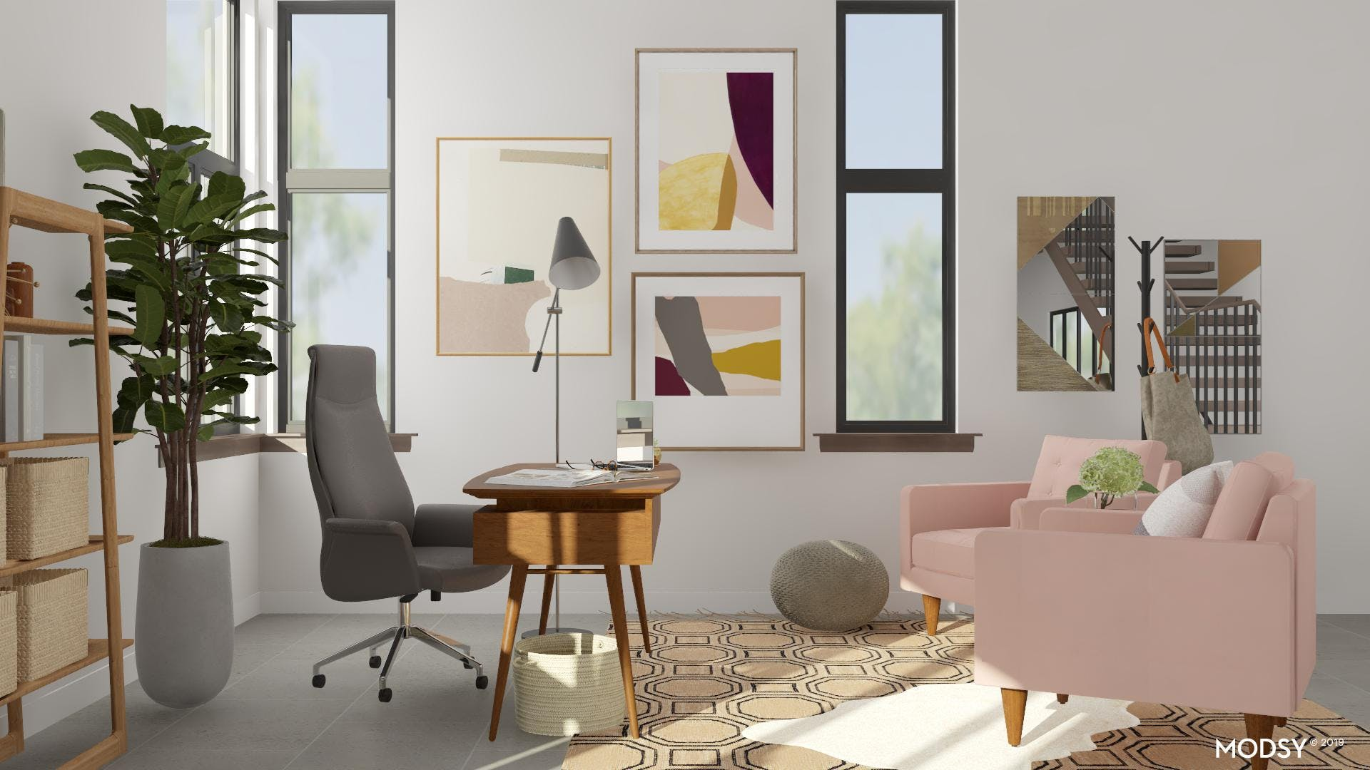 Pastel Colored Mid Century Office