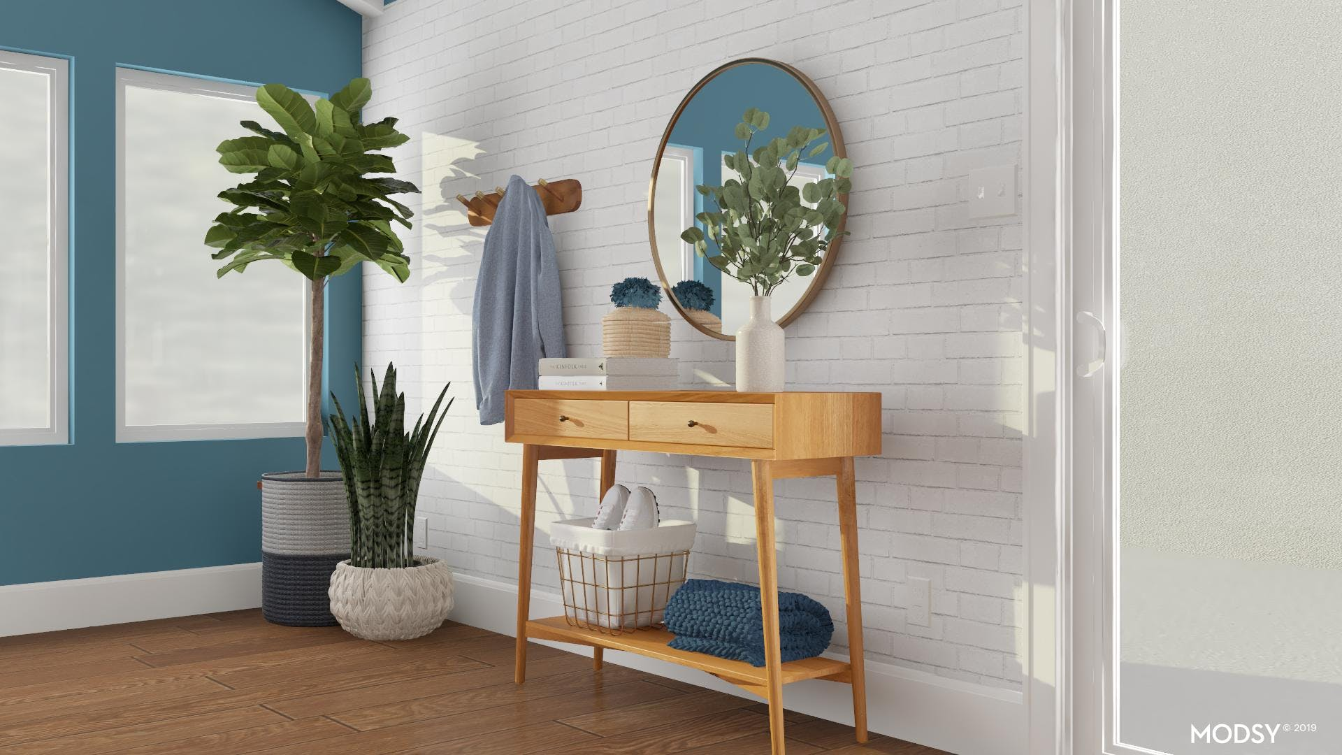 Mid Century Entry with a Pop of Blue