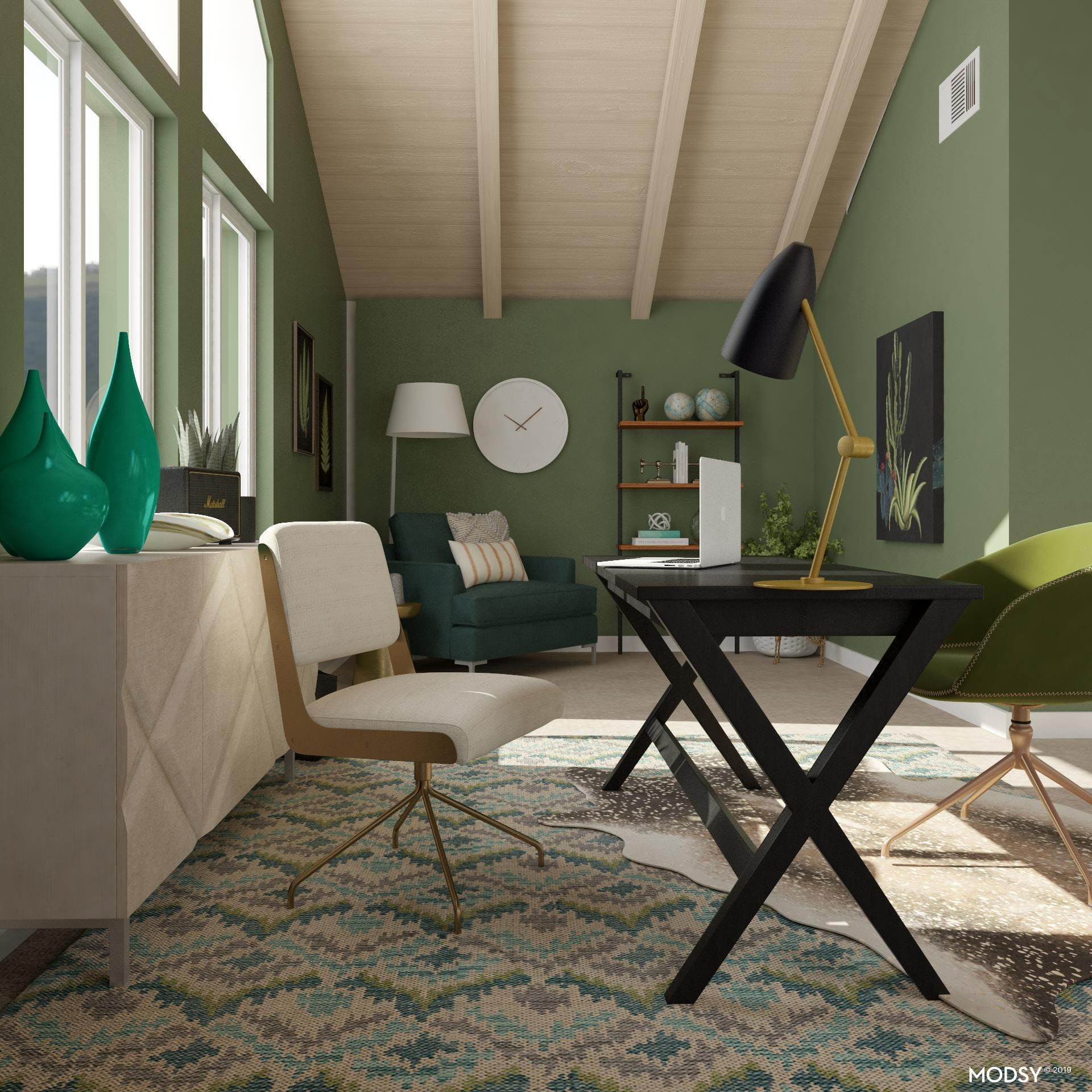 Green Transitional Home Office Design