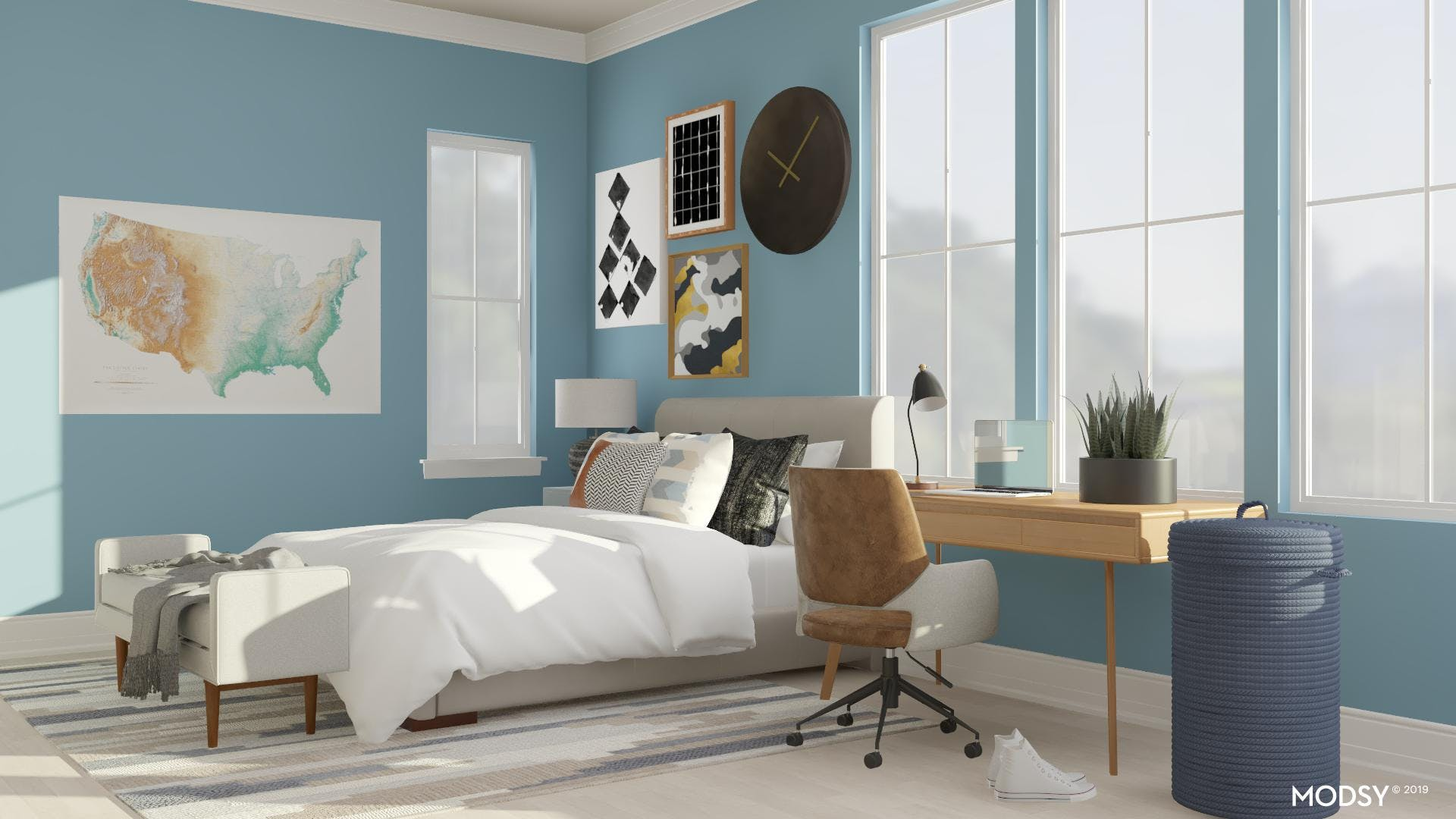 Youthful Mid-Century Bedroom For Teens