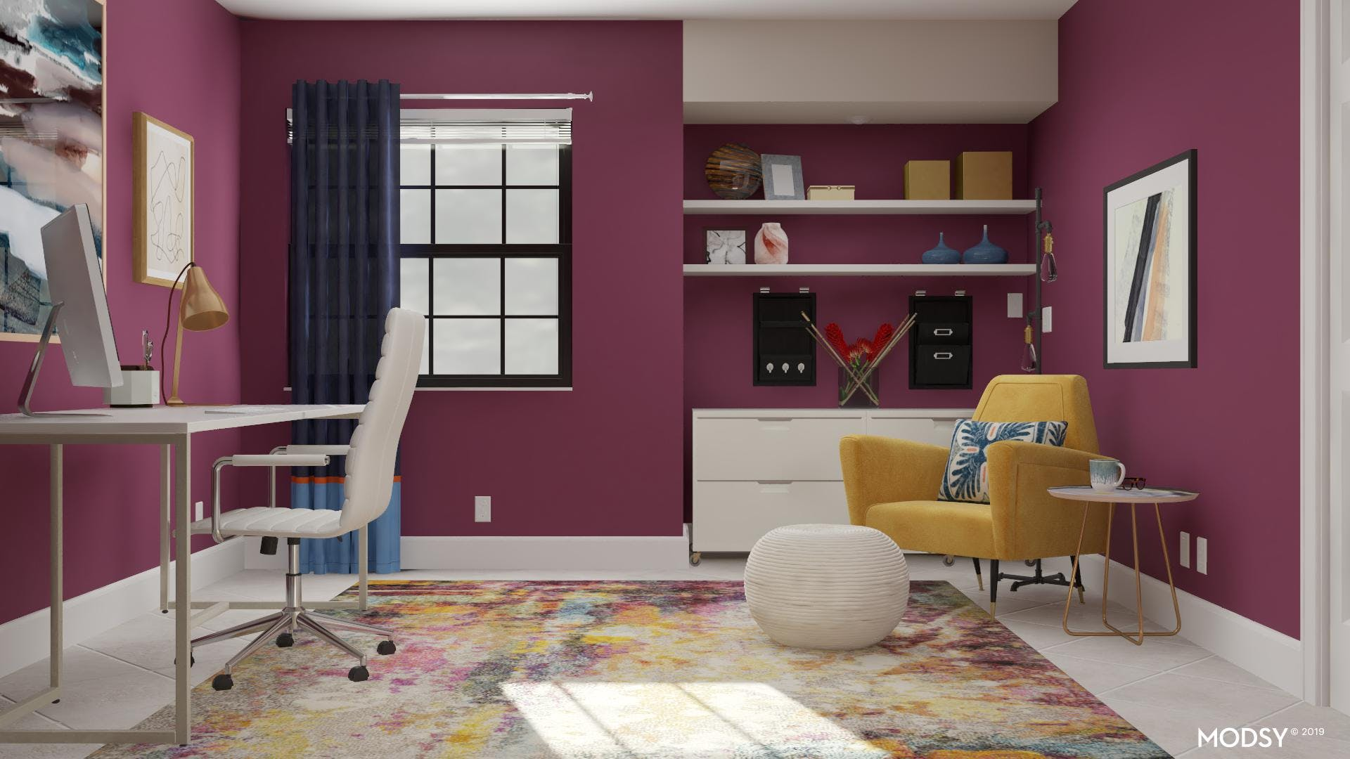 Modern Home Office With A Colorful Twist