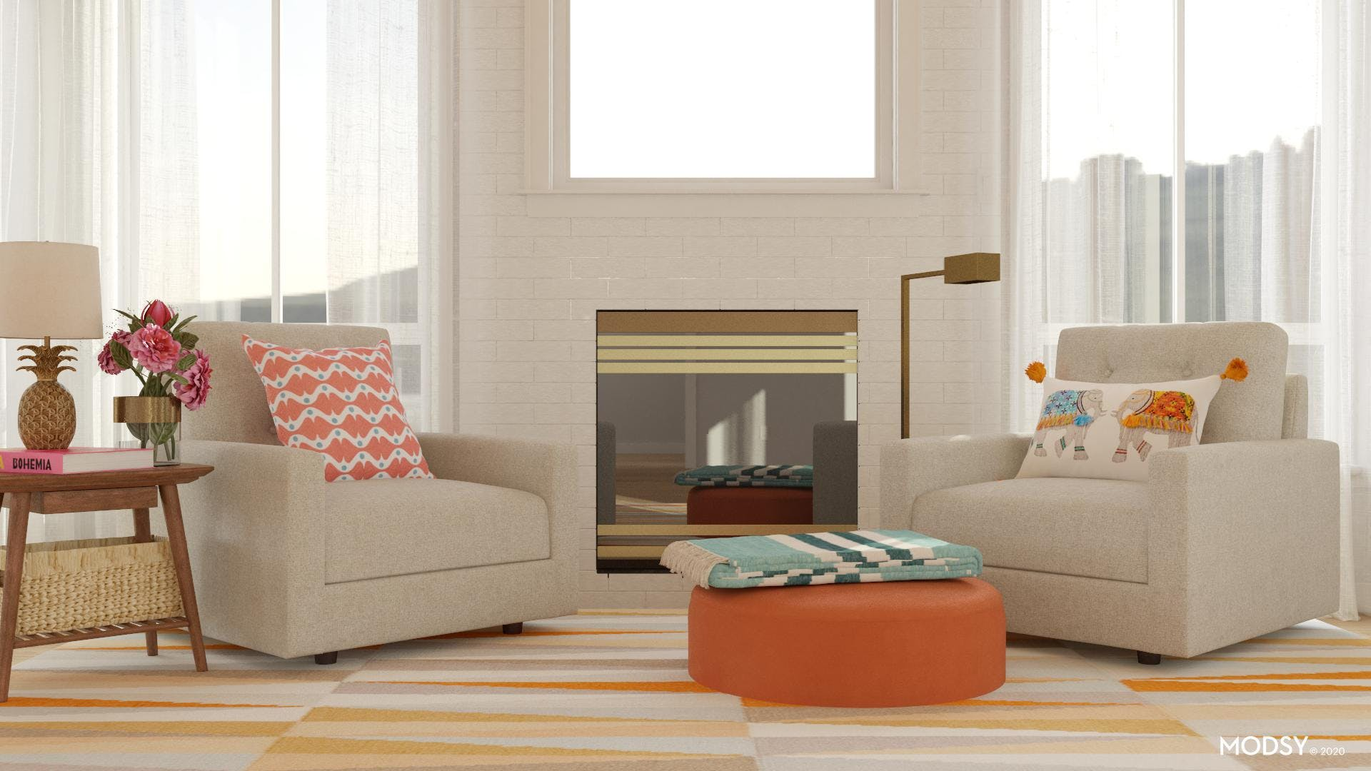 A Modern Multicolored Living Room
