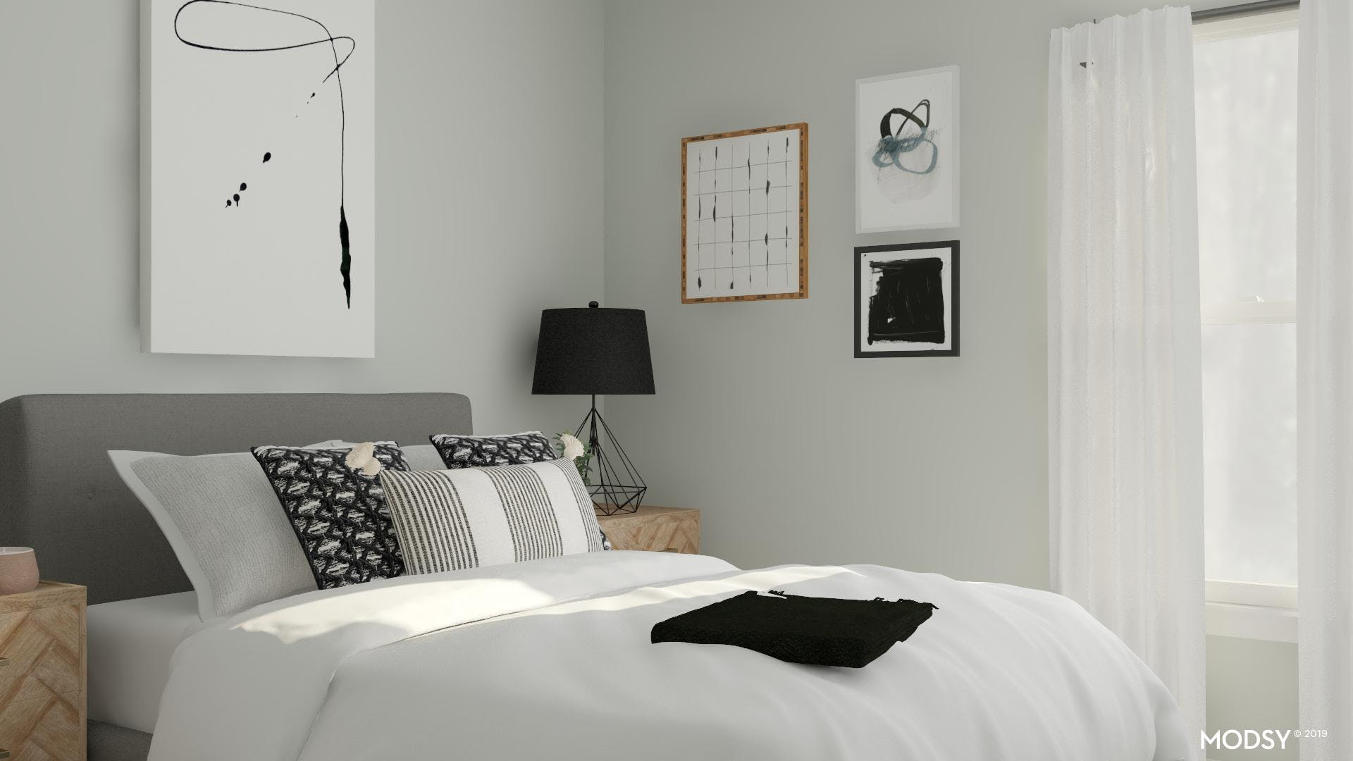 A Touch Of Grey Modern Bedroom
